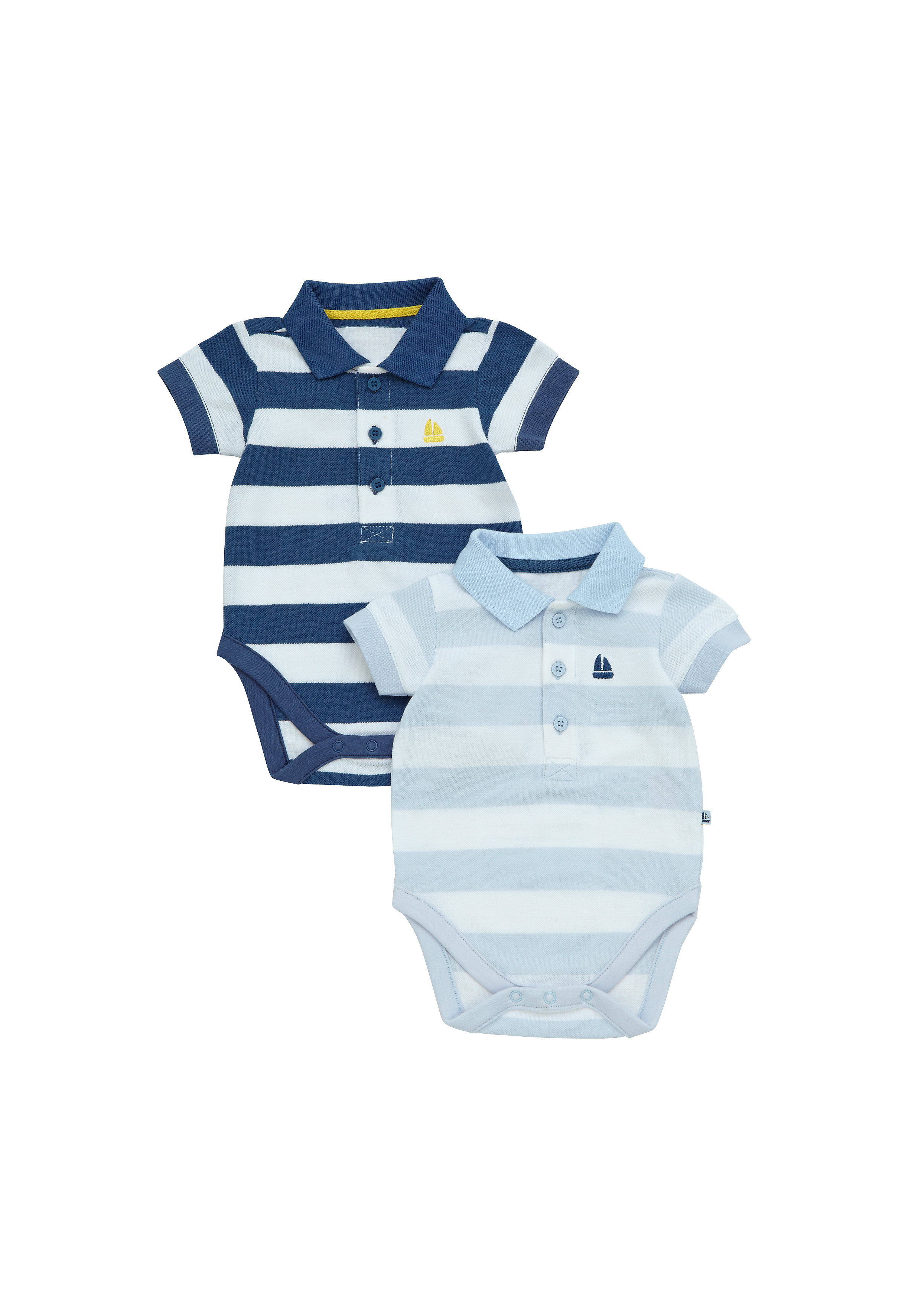 Mothercare | Boys Half Sleeves Polo Bodysuit Striped - Pack Of 2 - Blue