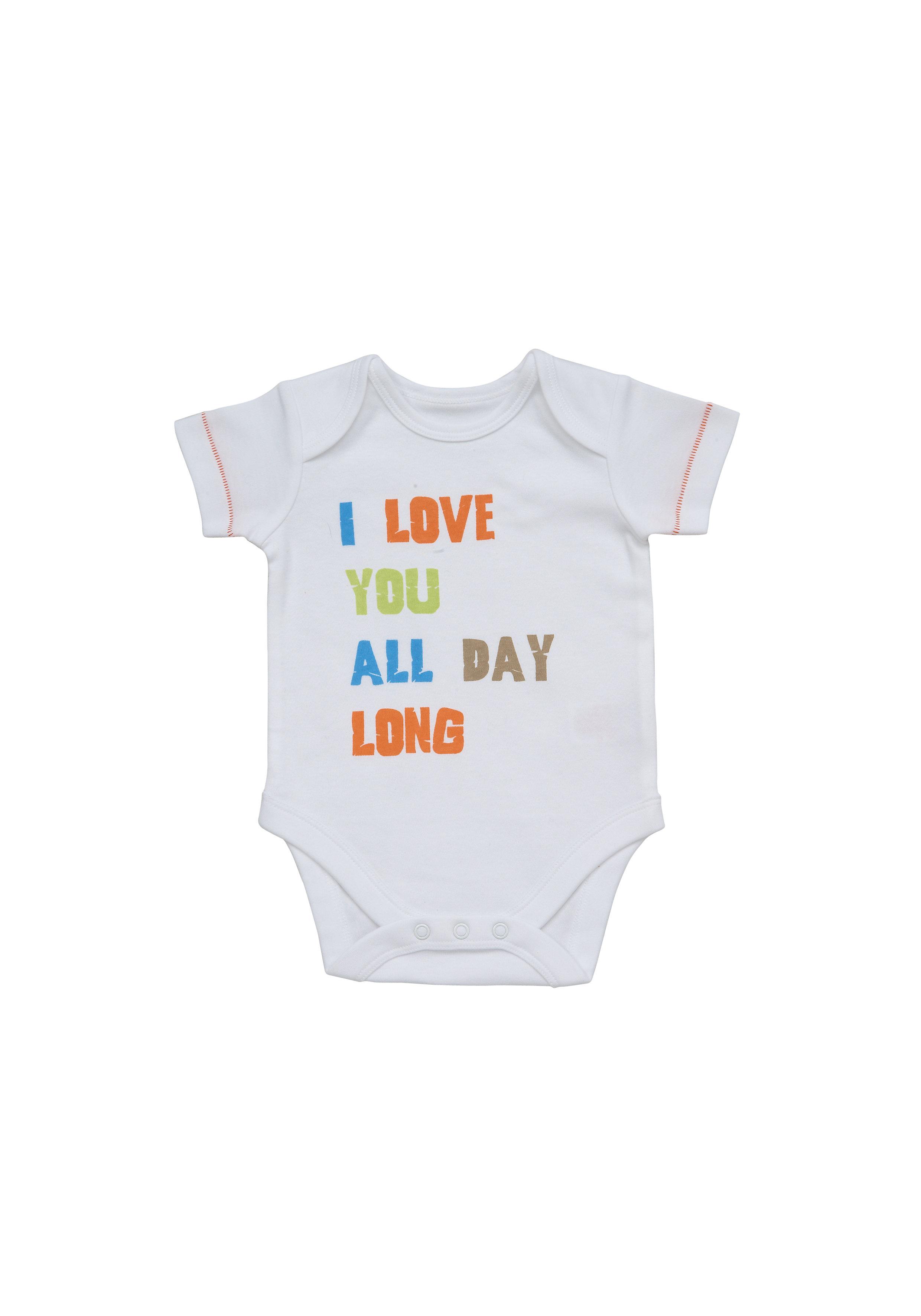 Mothercare | Boys Half Sleeves Bodysuit Text Print - White
