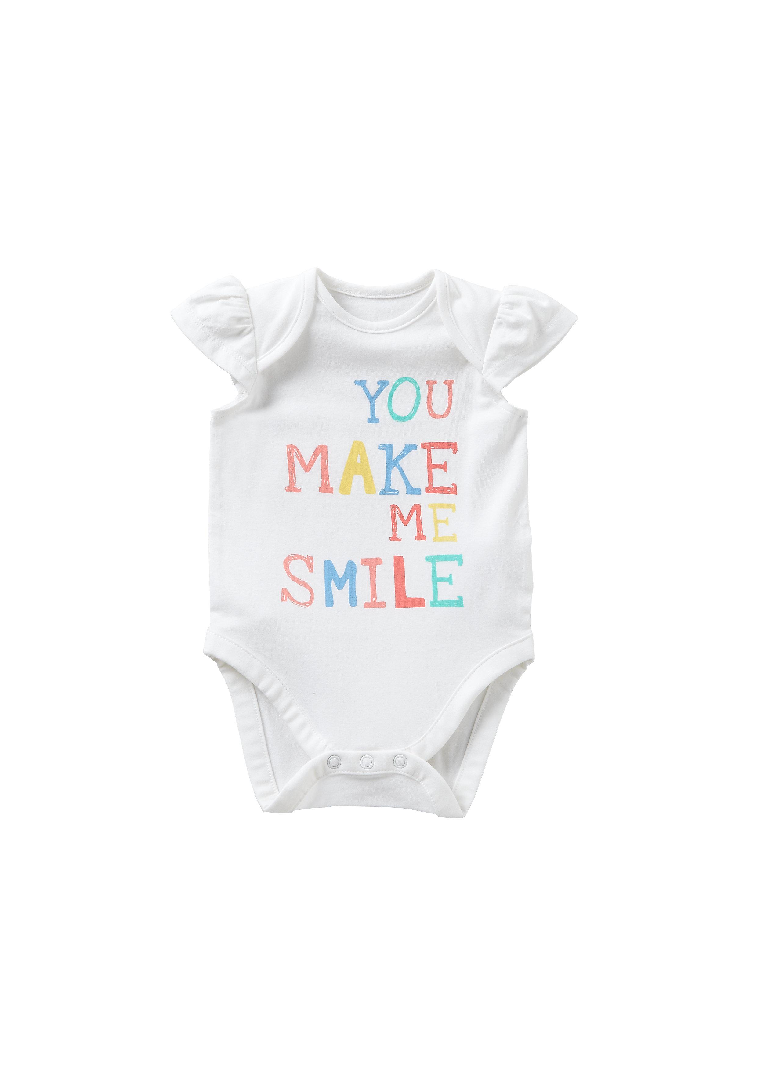 Mothercare | Girls Half Sleeves Bodysuit Text Print - White