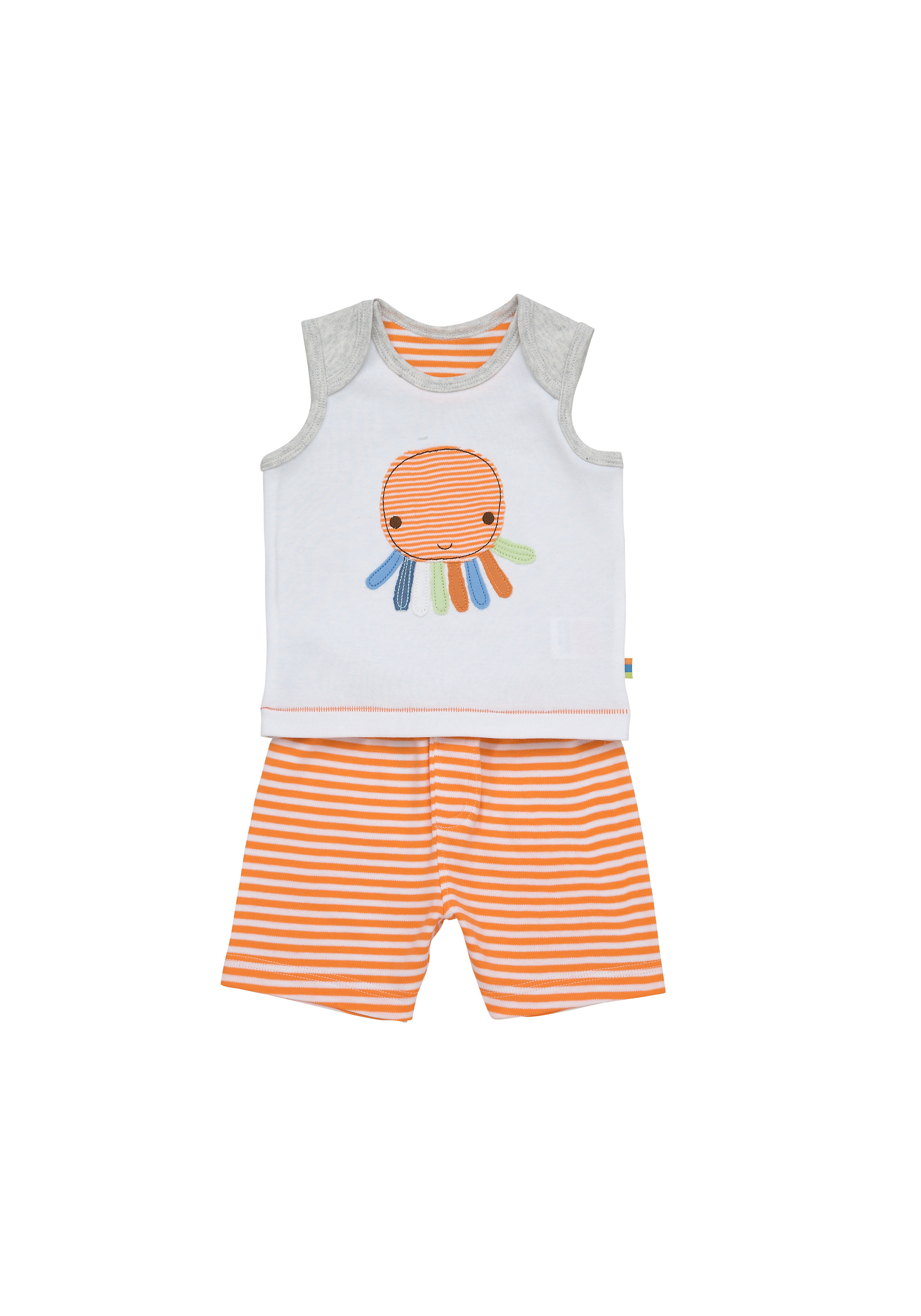 Mothercare | Boys Sleeveless T-Shirt And Shorts Set Octopus Patchwork - Orange