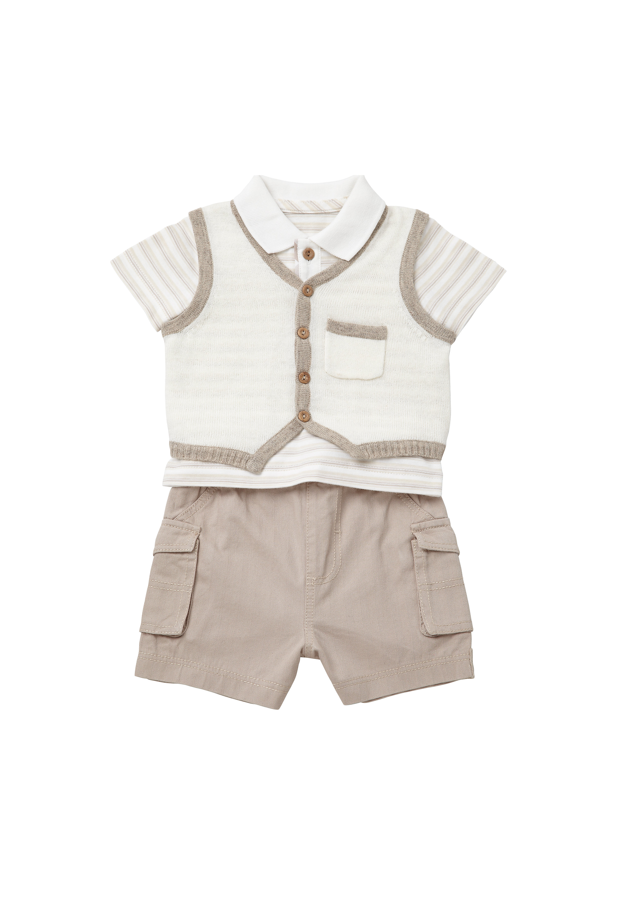 Mothercare | Boys Tank Top, Polo Shirt And Shorts Set - Beige
