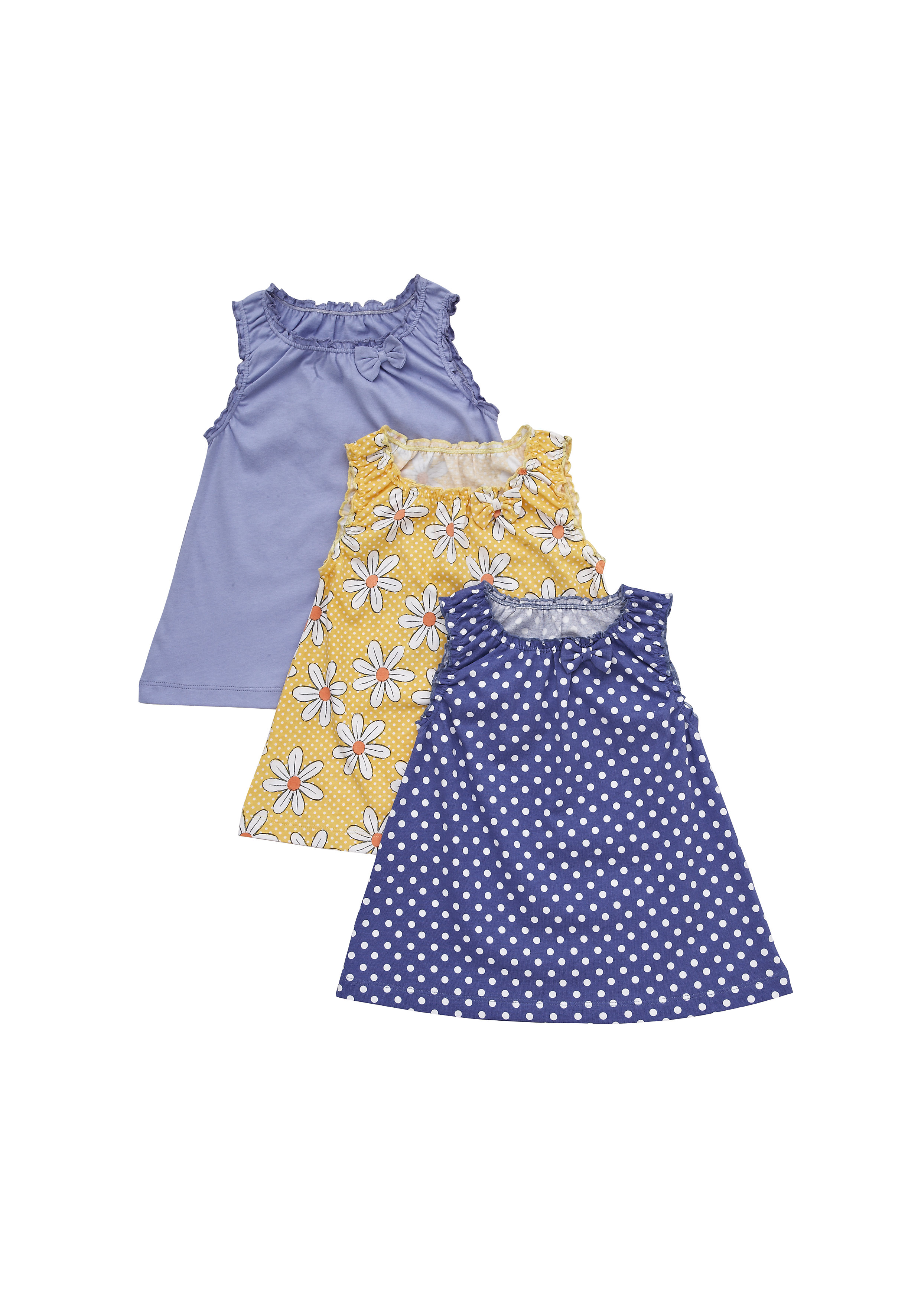 Mothercare | Girls Sleeveless Printed Tops Bow Detail - Pack Of 3 - Multicolor