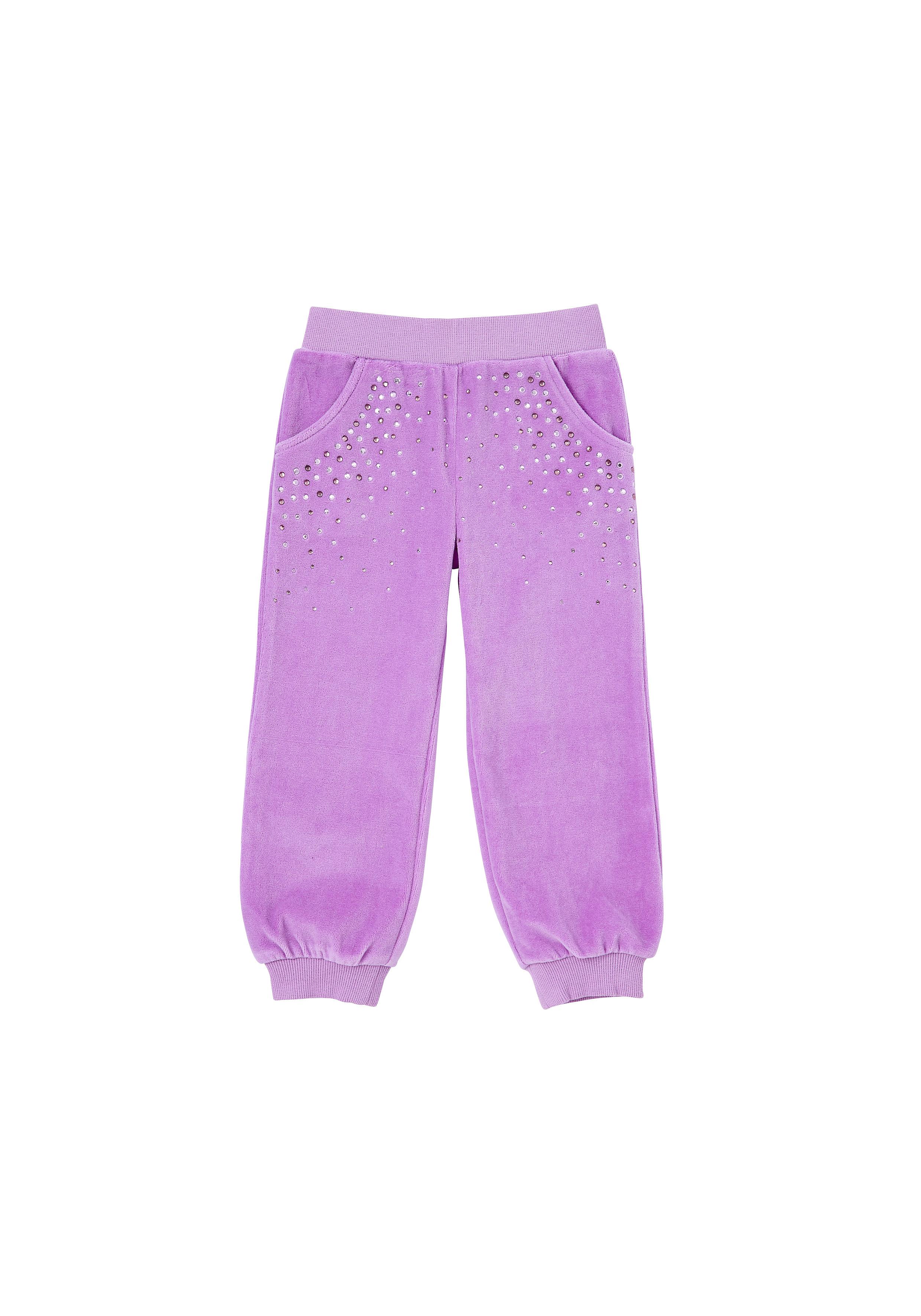 Mothercare   Girls Joggers Velour - Purple