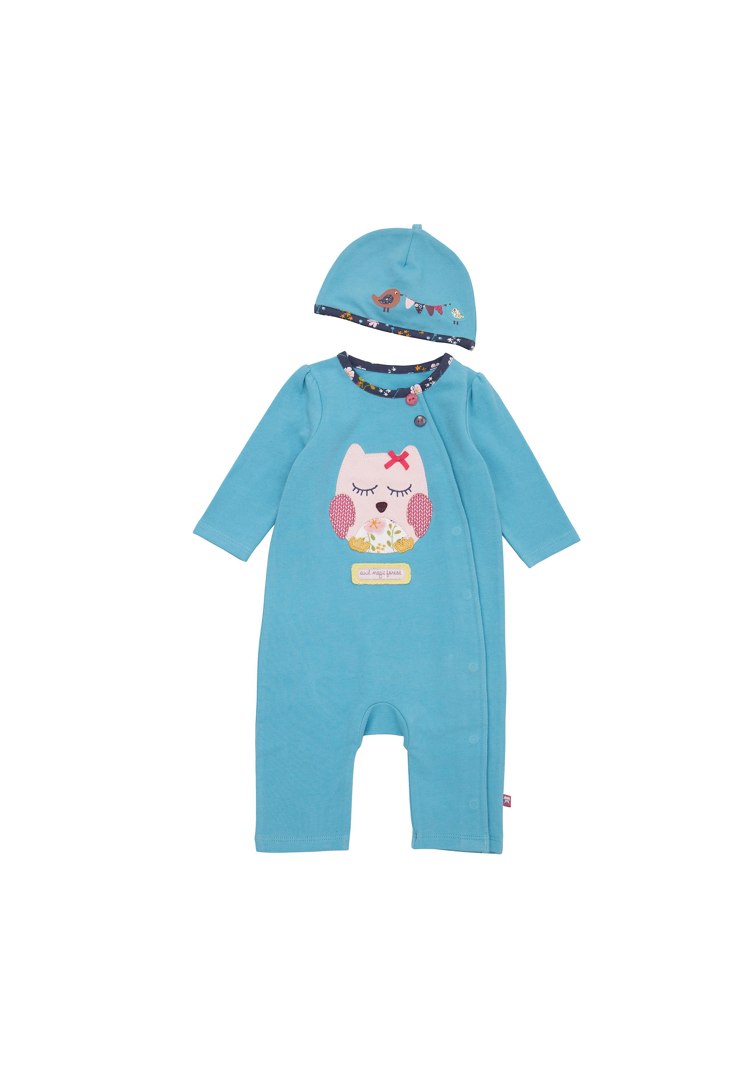 Mothercare | Girls Full Sleeves Romper Owl Patchwork - Blue