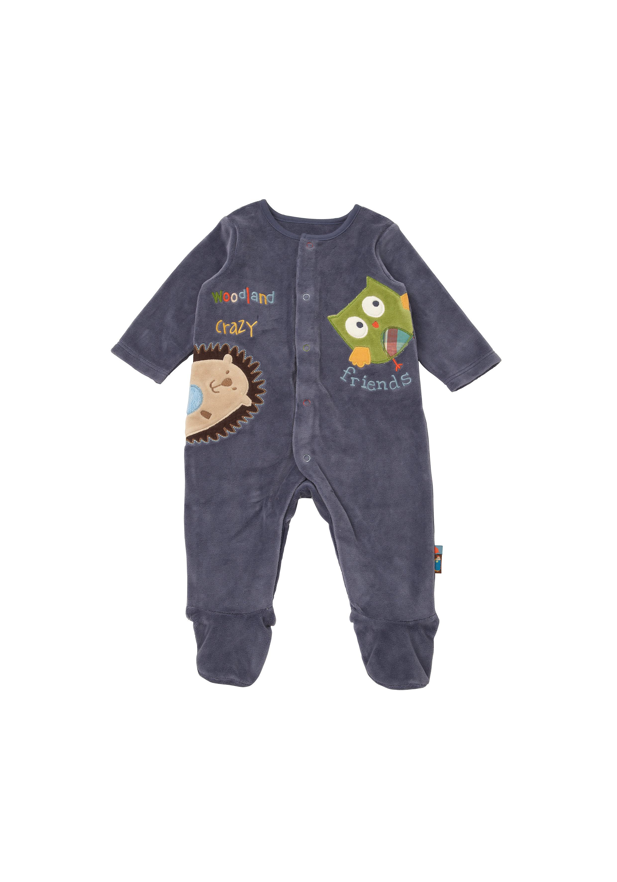 Mothercare | Boys Full Sleeves Velour Romper Owl Patchwork - Navy