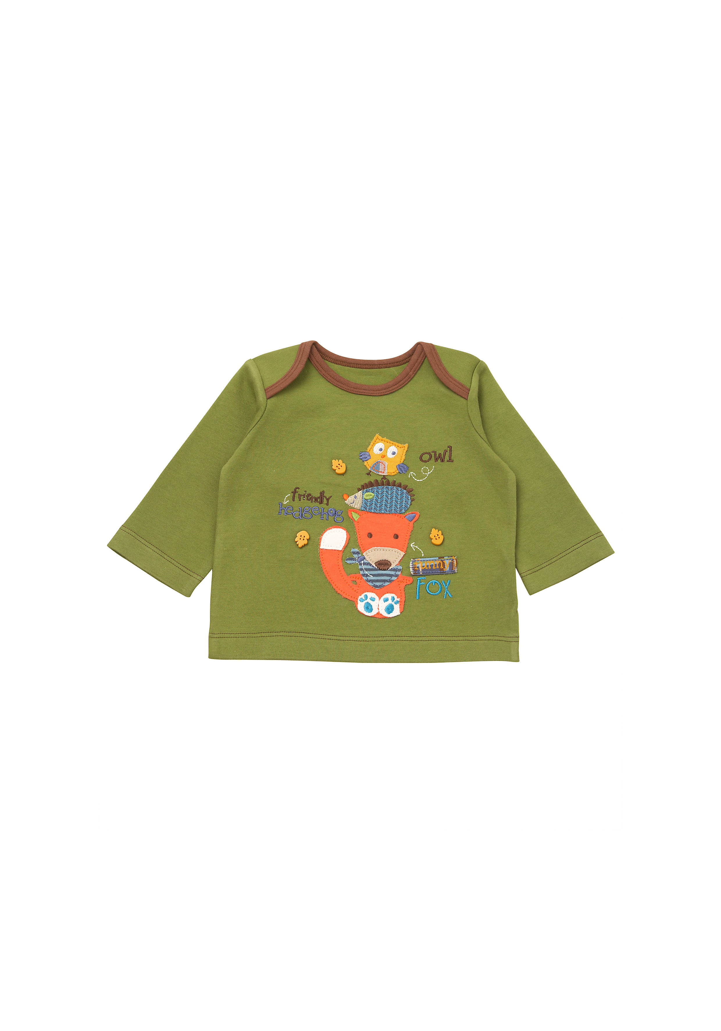 Mothercare | Boys Full Sleeves T-Shirt Animal Patchwork - Green