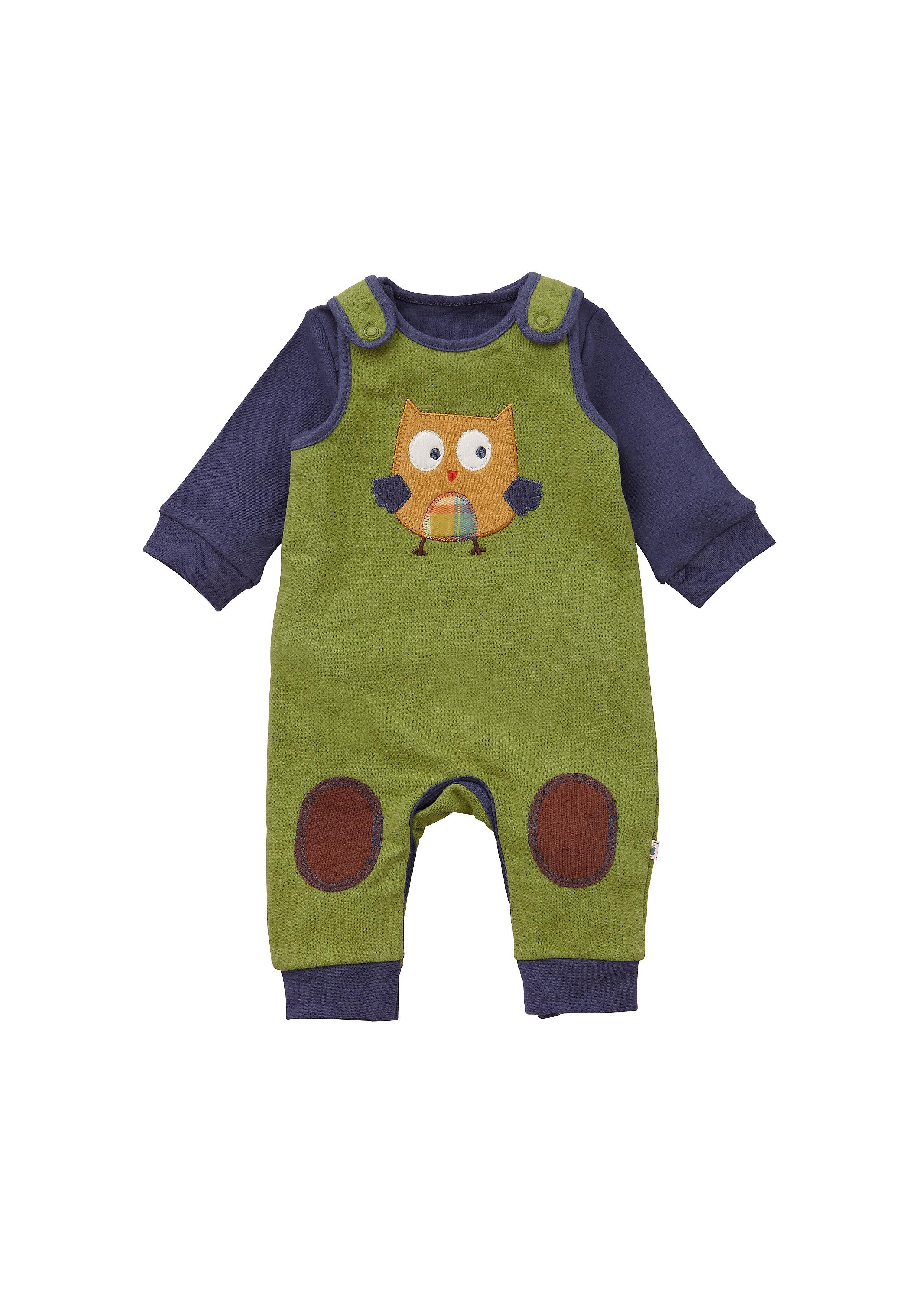 Mothercare | Boys Full Sleeves Dungaree T-Shirt Sets Owl Print - Green