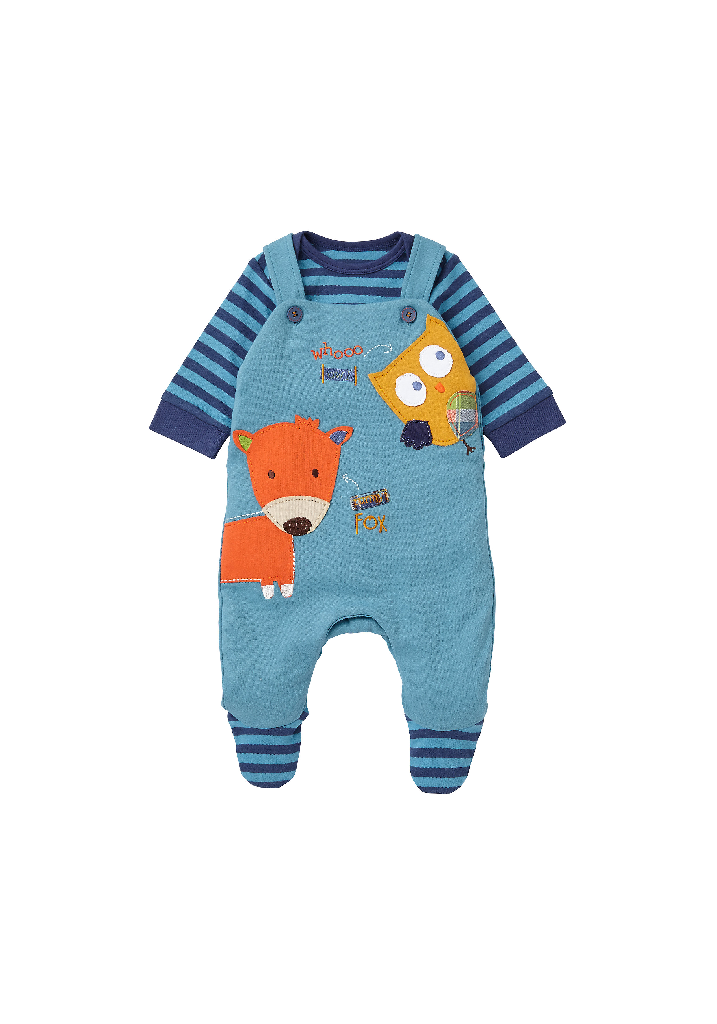 Mothercare | Boys Full Sleeves Dungaree Set Owl Patchwork - Blue