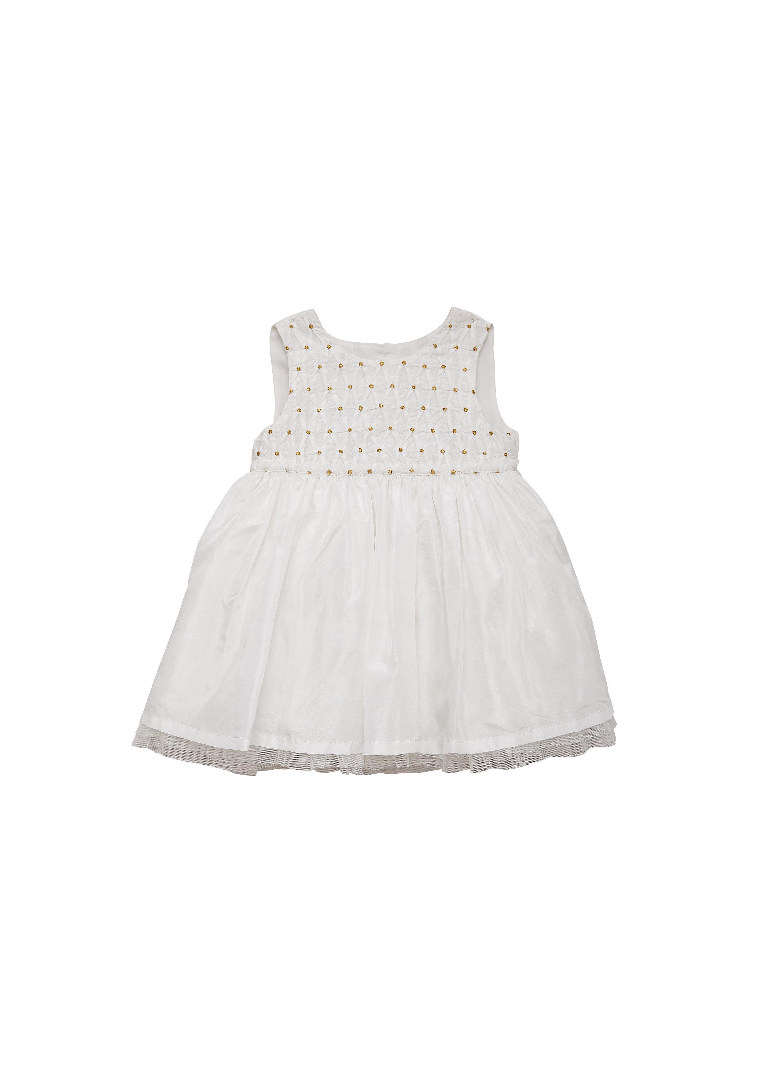 Mothercare | Girls Sleeveless Partywear Dress Smocking - White