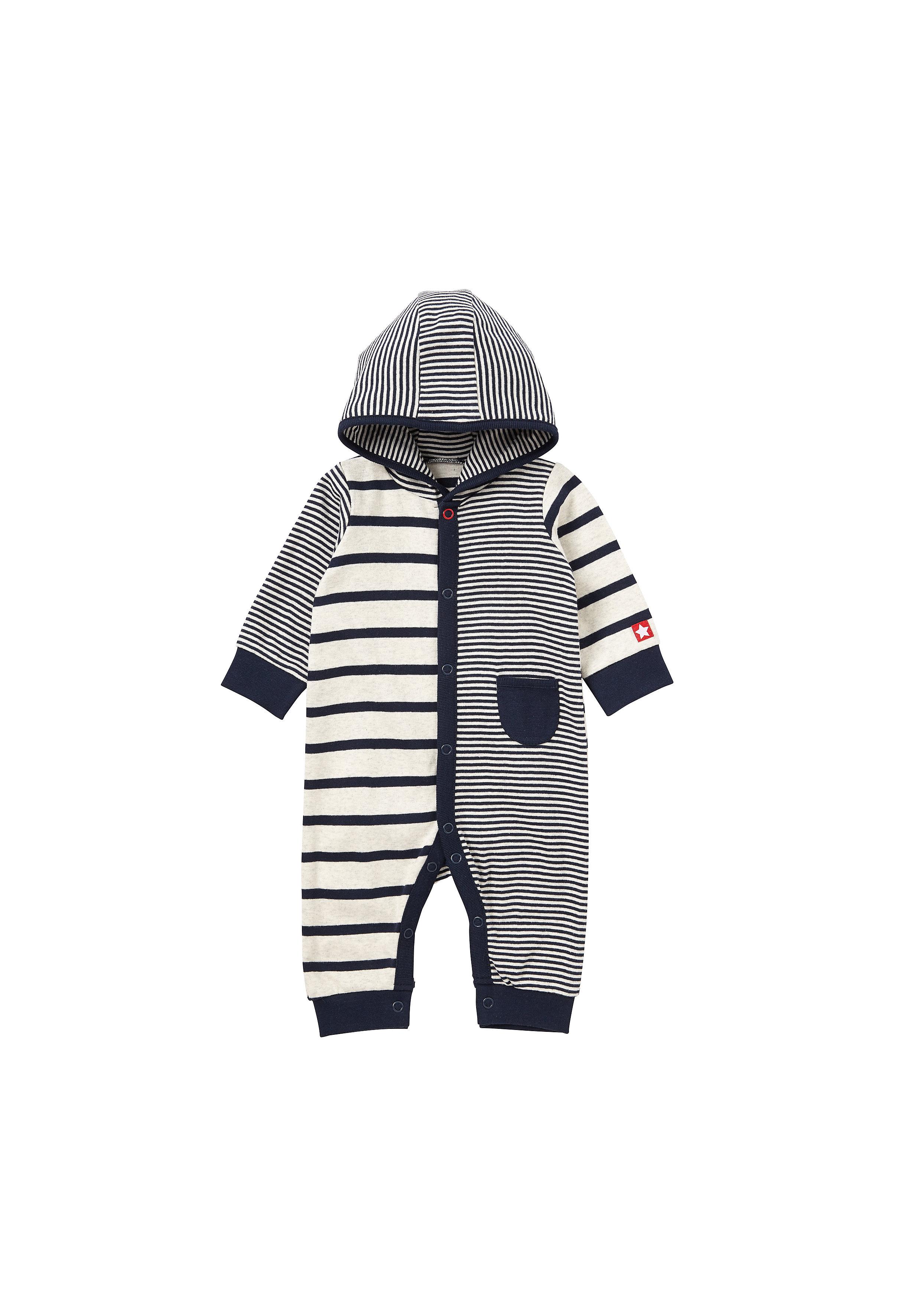 Mothercare   Boys Full Sleeves Hooded Romper Striped - Navy