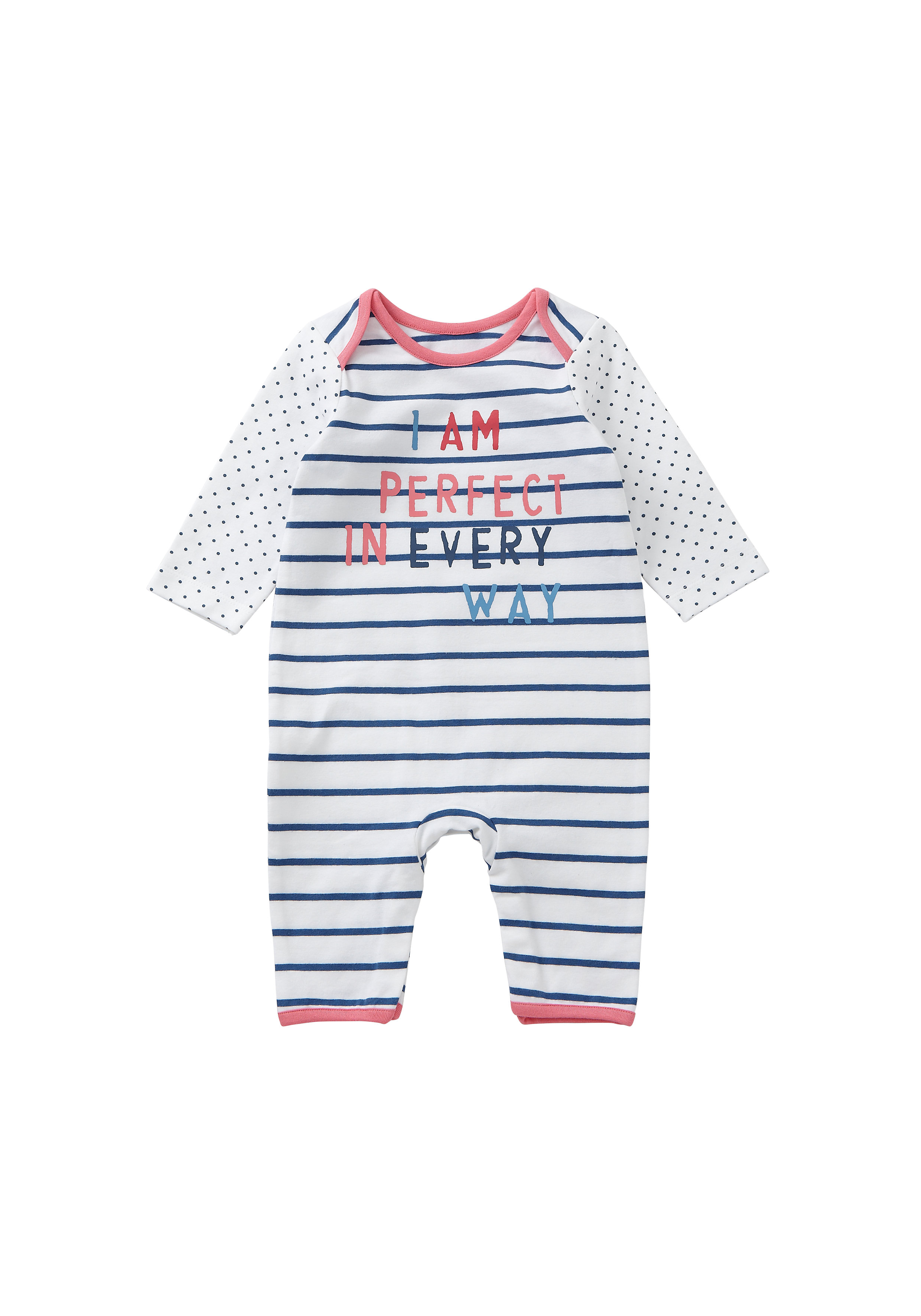 Mothercare | Girls Full Sleeves Romper Striped And Text Print - White
