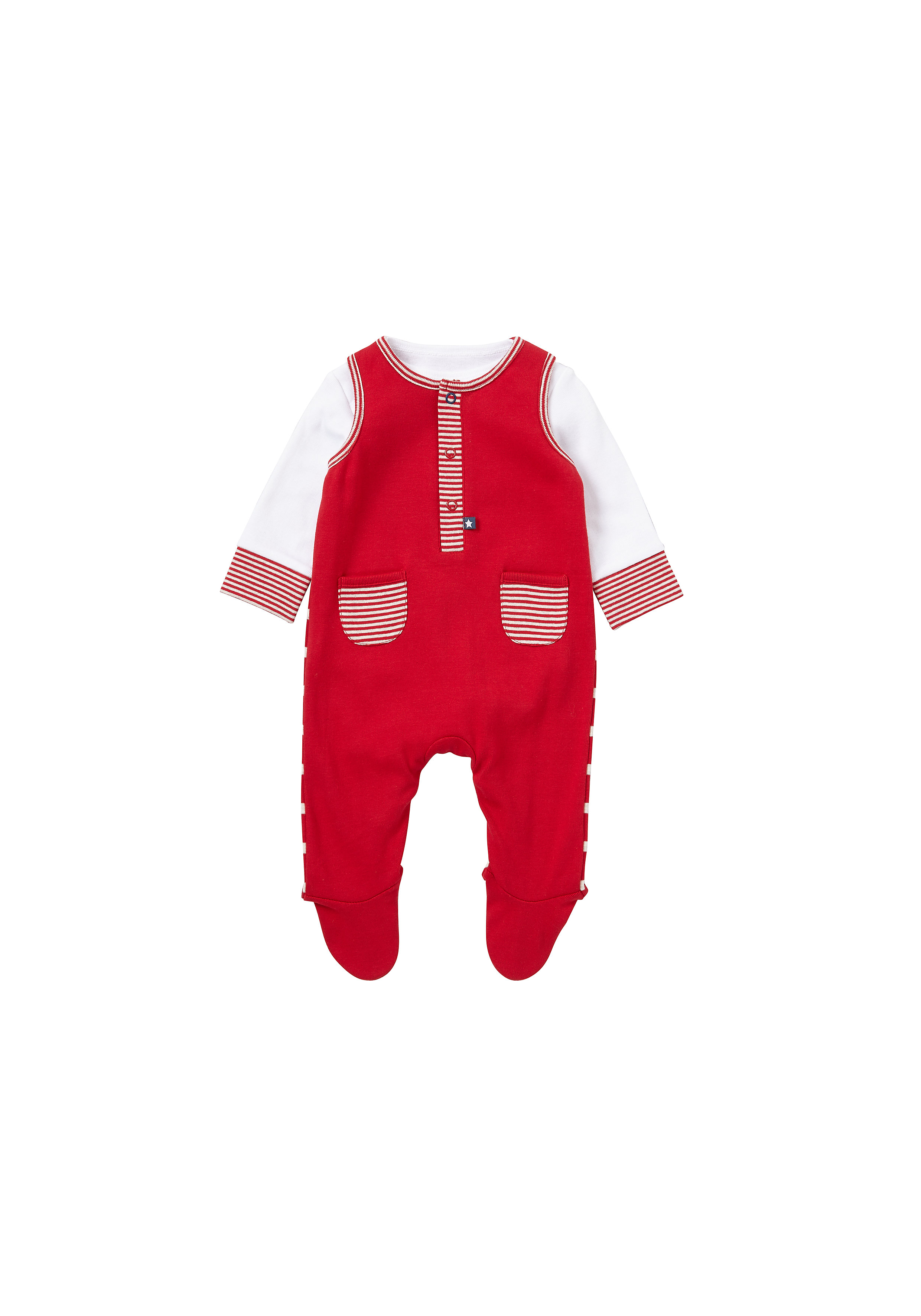 Mothercare | Boys Full Sleeves Dungaree Set Pocket Detail - Red