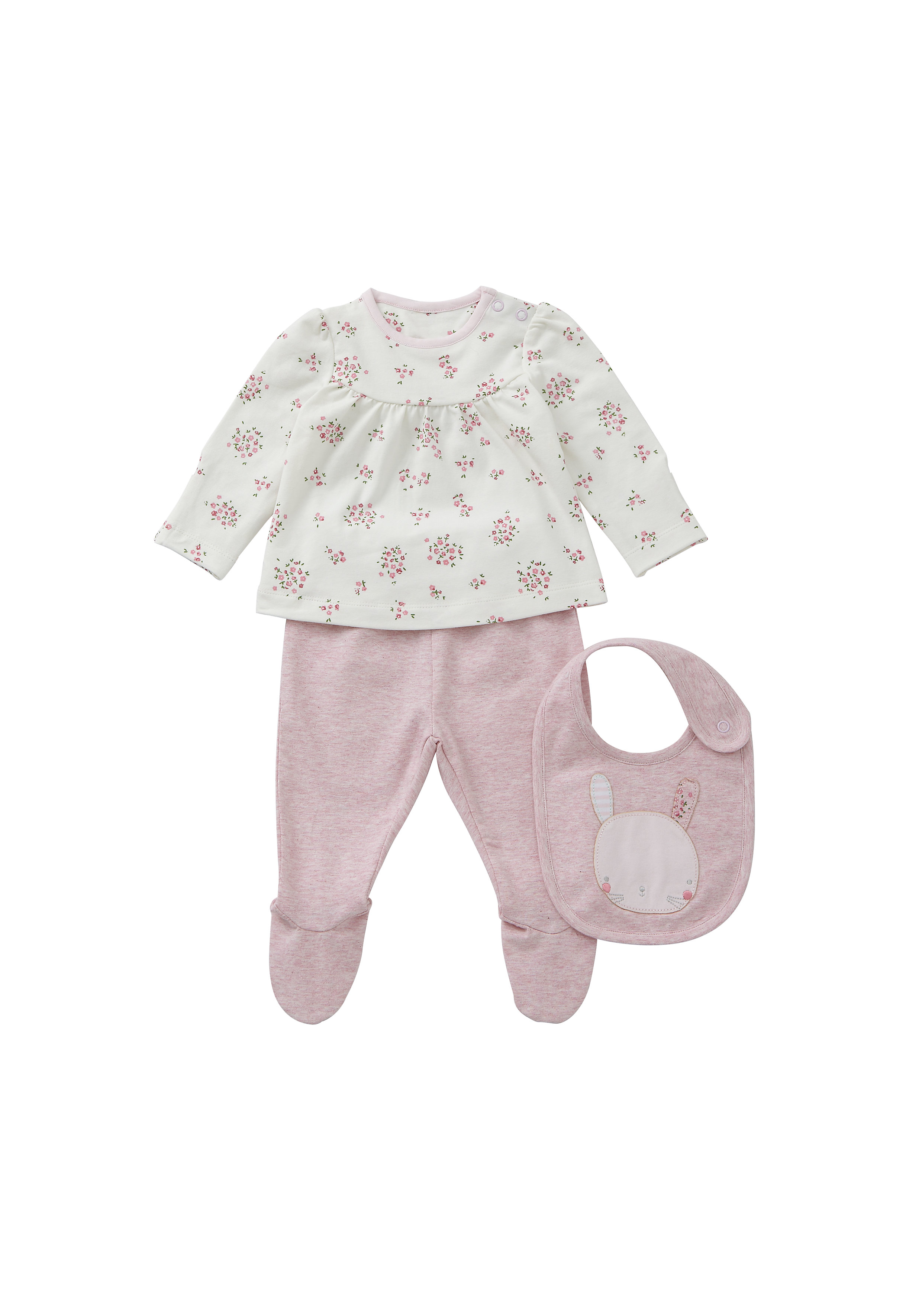 Mothercare | Girls Full Sleeves 3 Piece Set Floral Print - Pink