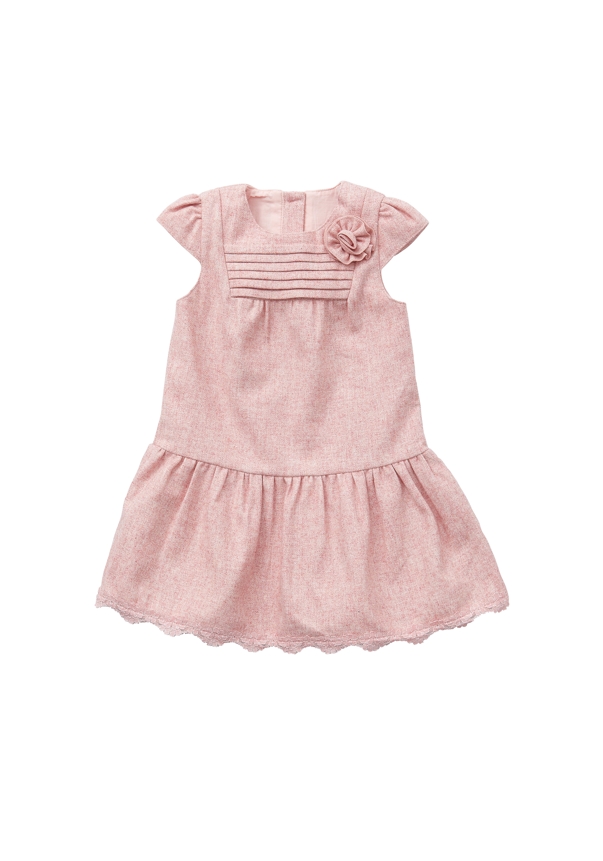 Mothercare | Girls Tweed And Lace  Dress - Pink