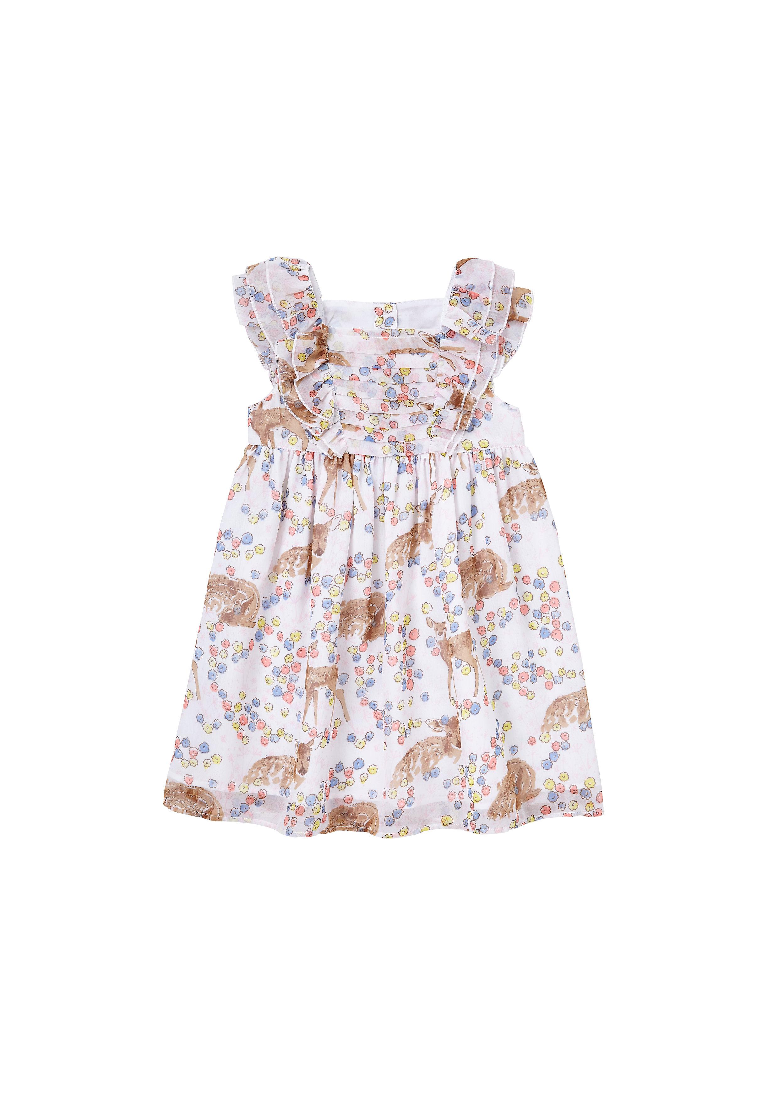 Mothercare | Girls Deer Dress  - Cream