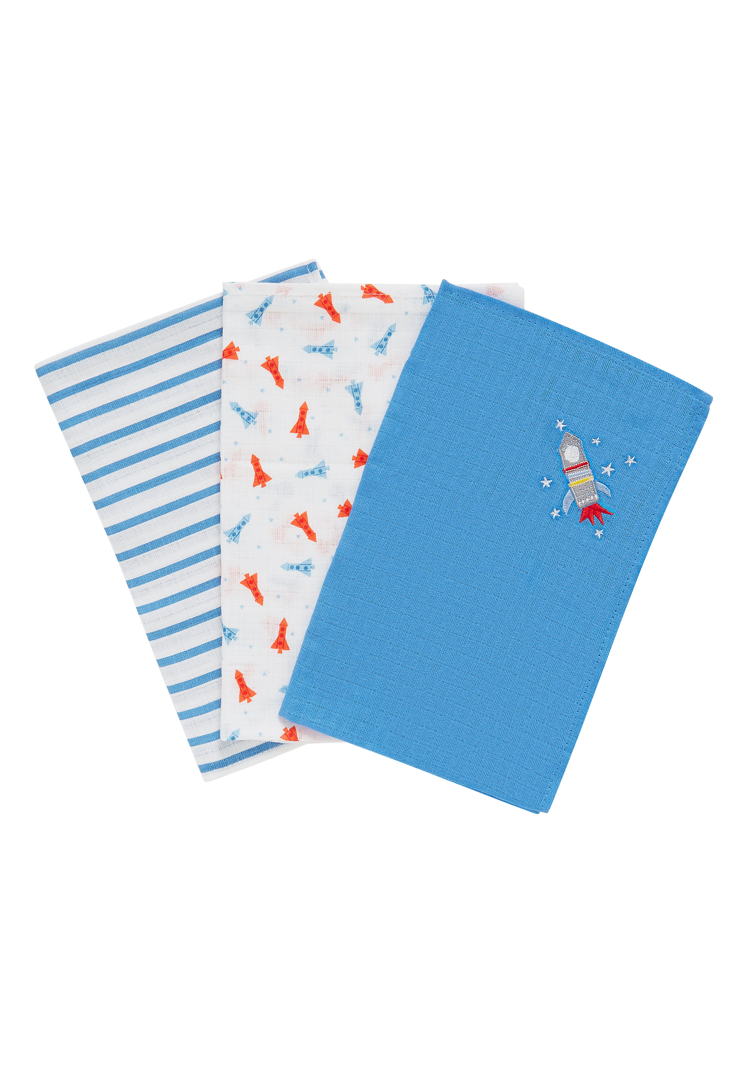 Mothercare | Mothercare Space Dreamer Muslins Pack of 3 Multi