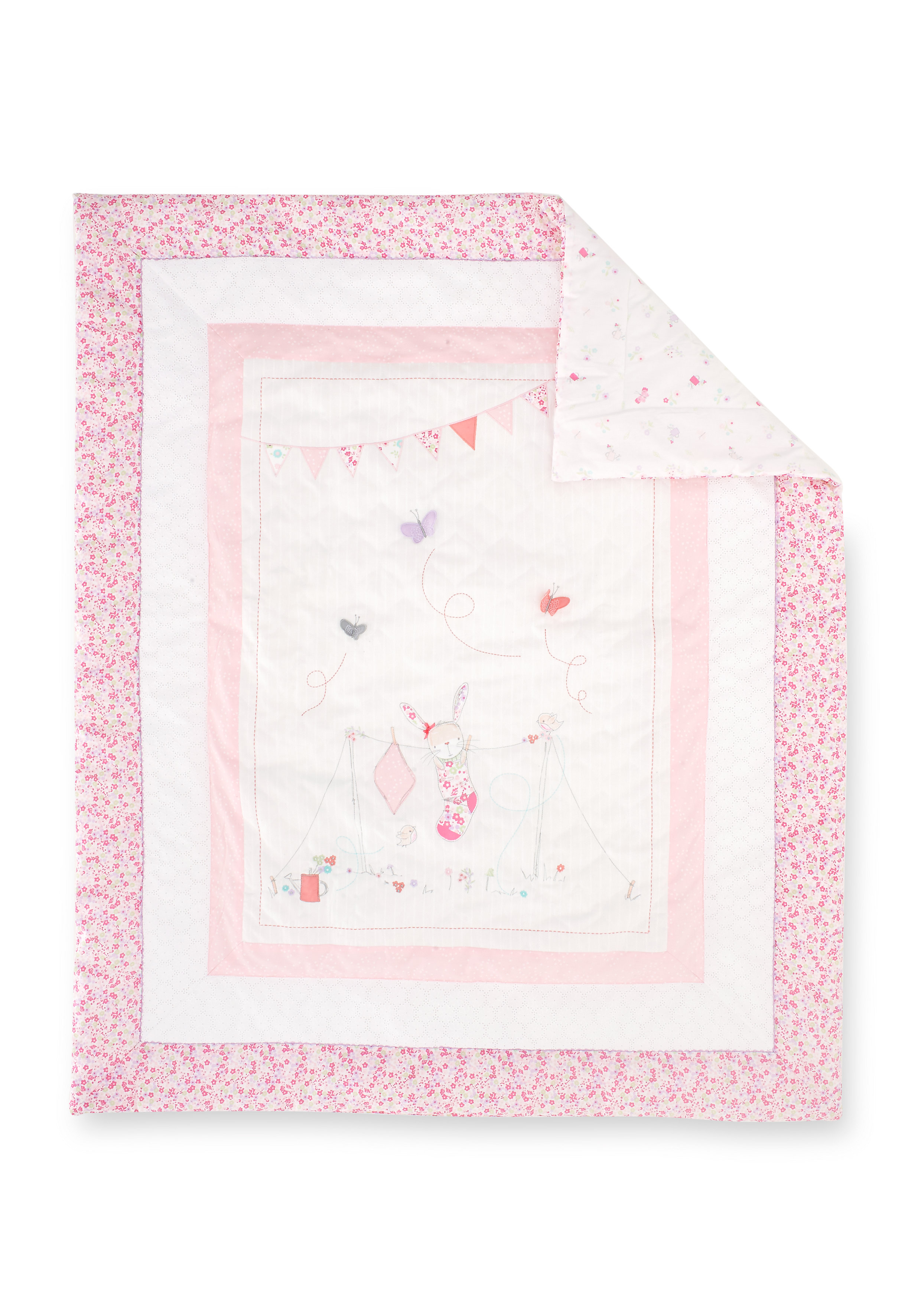 Mothercare   Mothercare My Little Garden Cot Bed Quilt Pink
