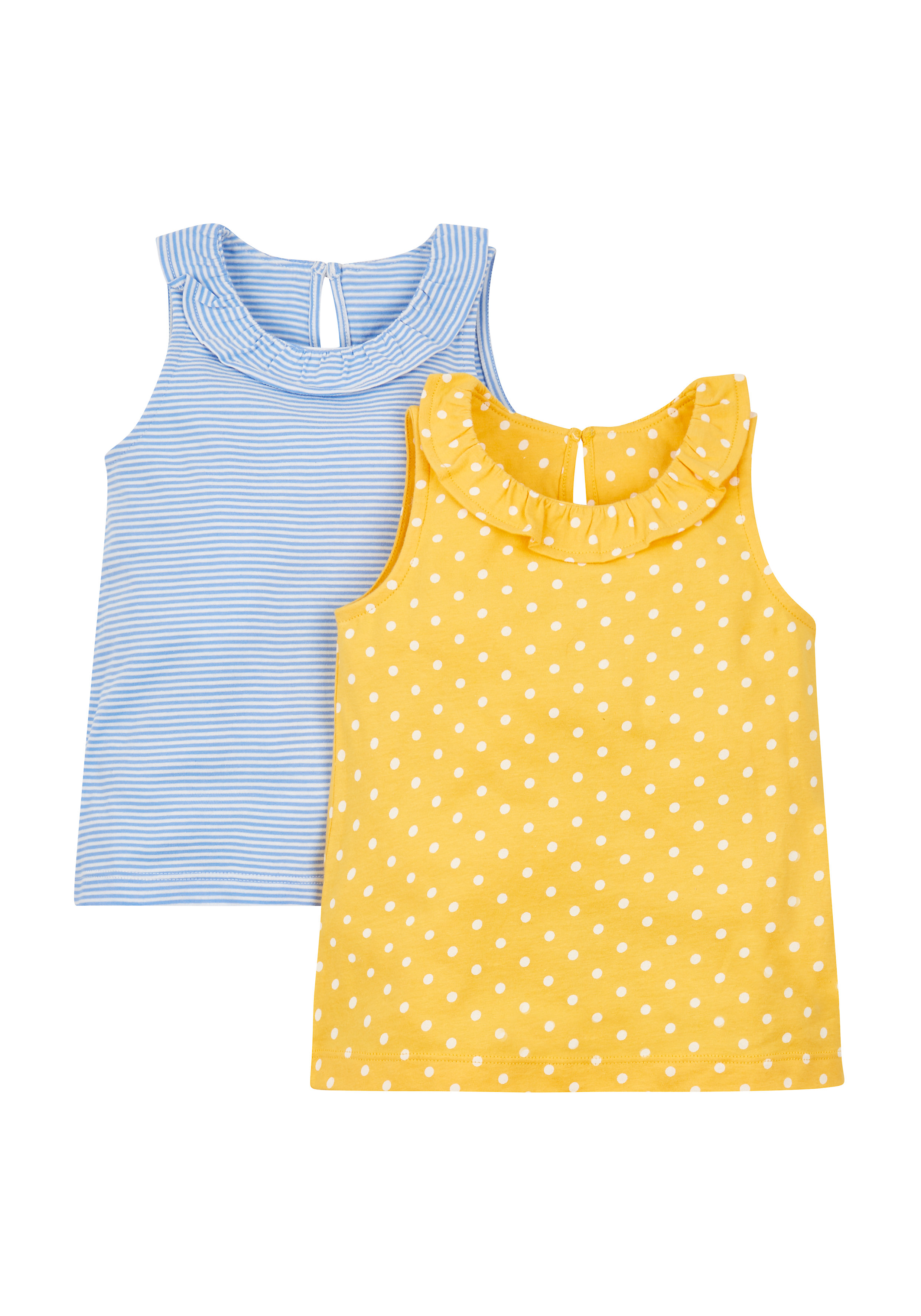 Mothercare   Girls Spotty And Stripy Vests - 2 Pack - Blue
