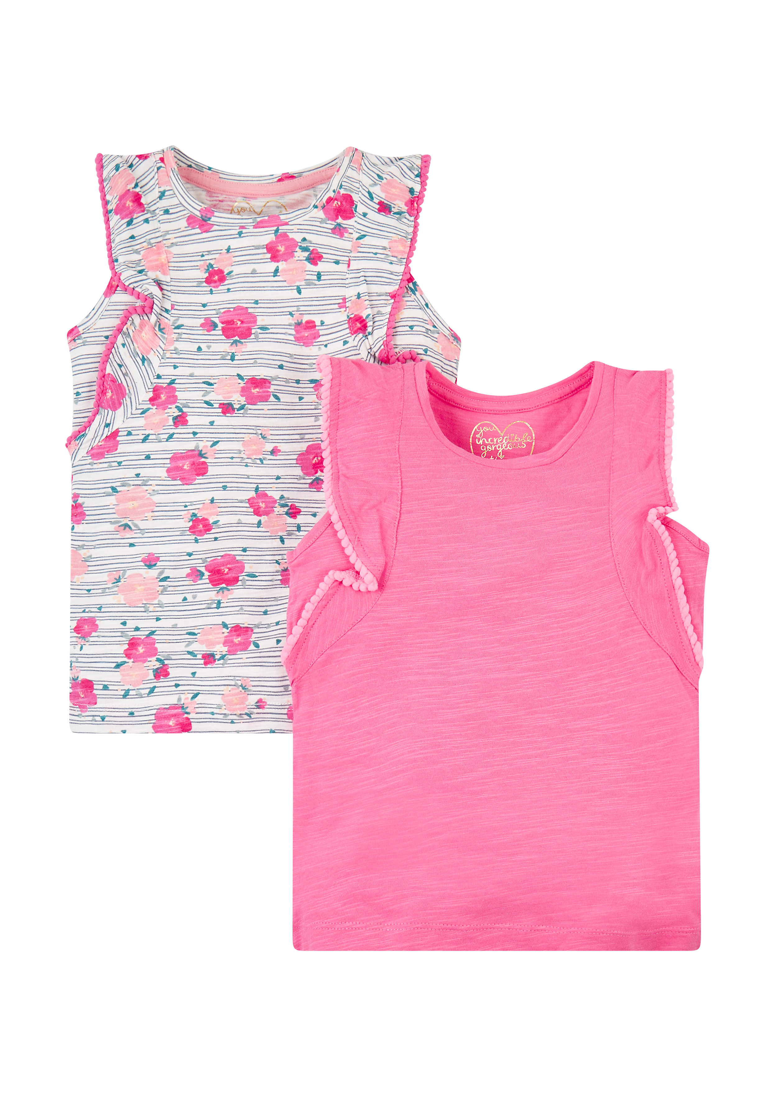 Mothercare | Pink And Floral Vests - 2 Pack