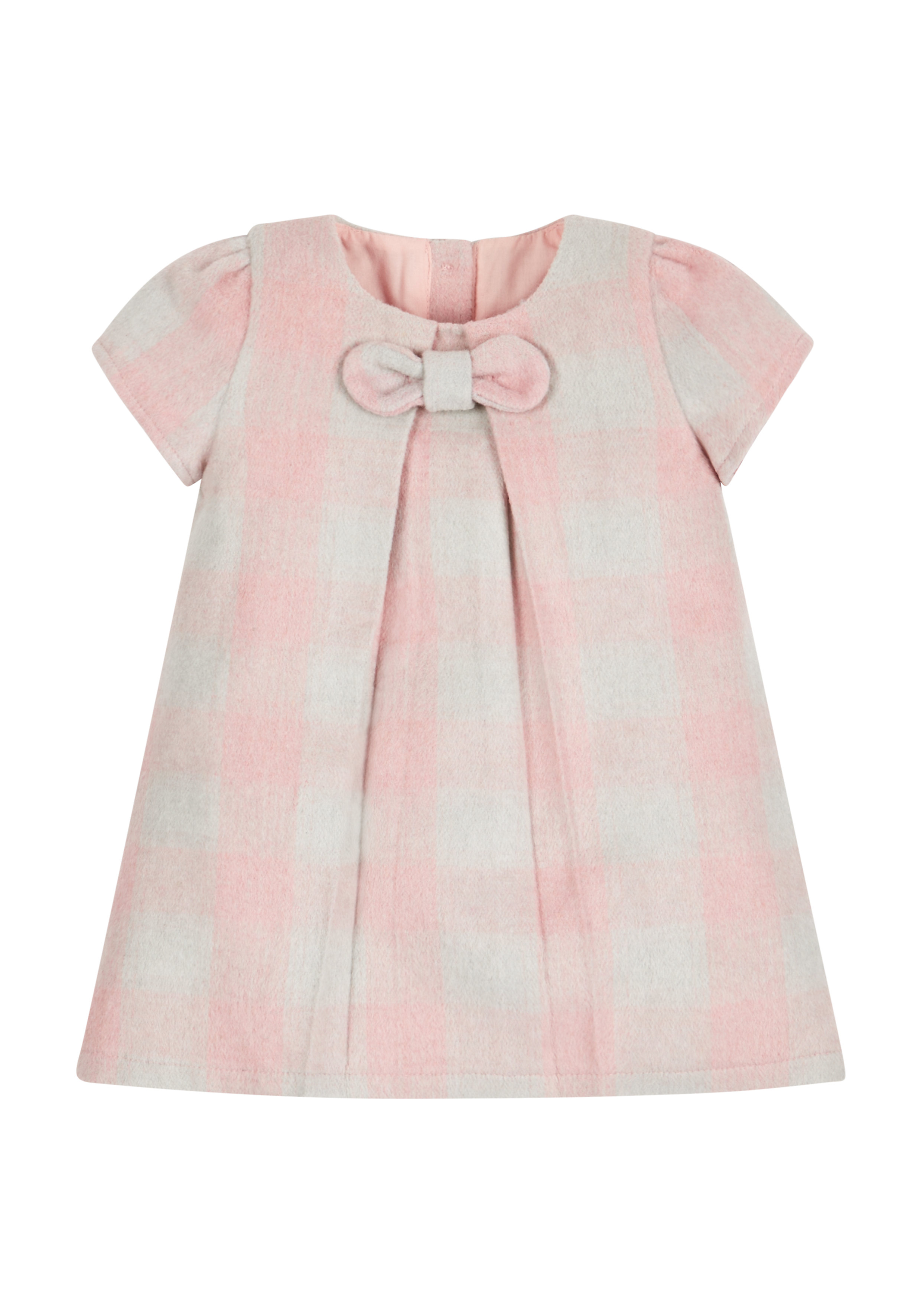 Mothercare | Girls Half Sleeves Check Dress Bow Detail - Pink