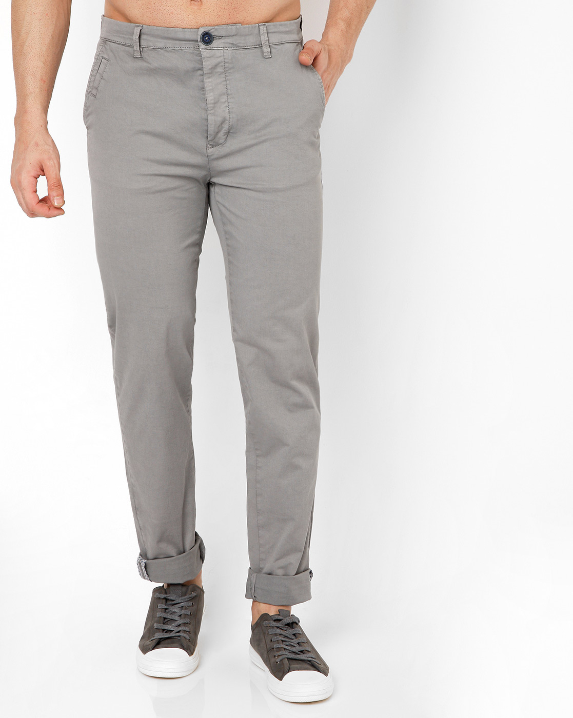 GAS | Men's Sadeck Grey Solid Trousers