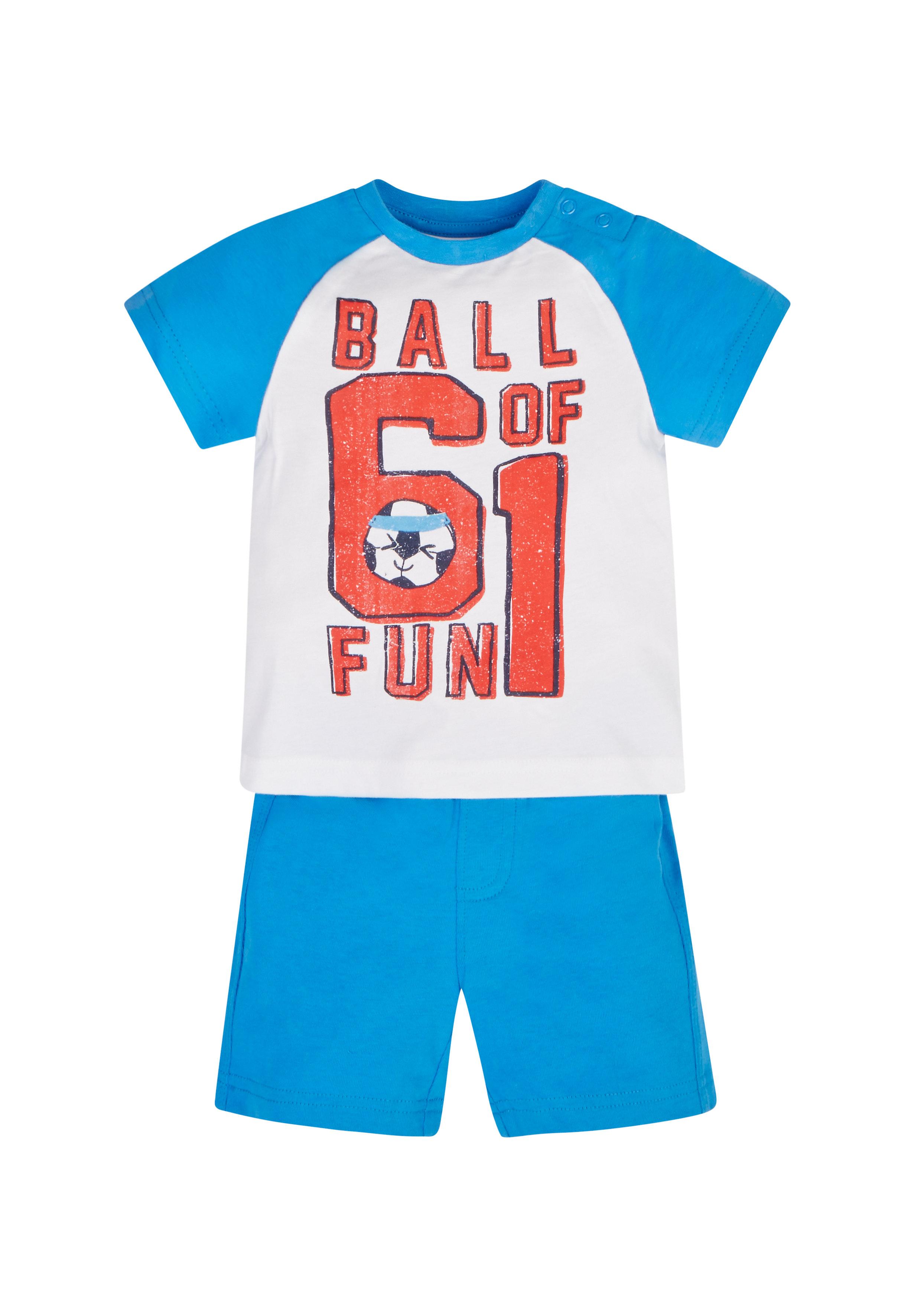Mothercare | Boys Half Sleeves T-Shirt And Shorts Set Text Print - Blue
