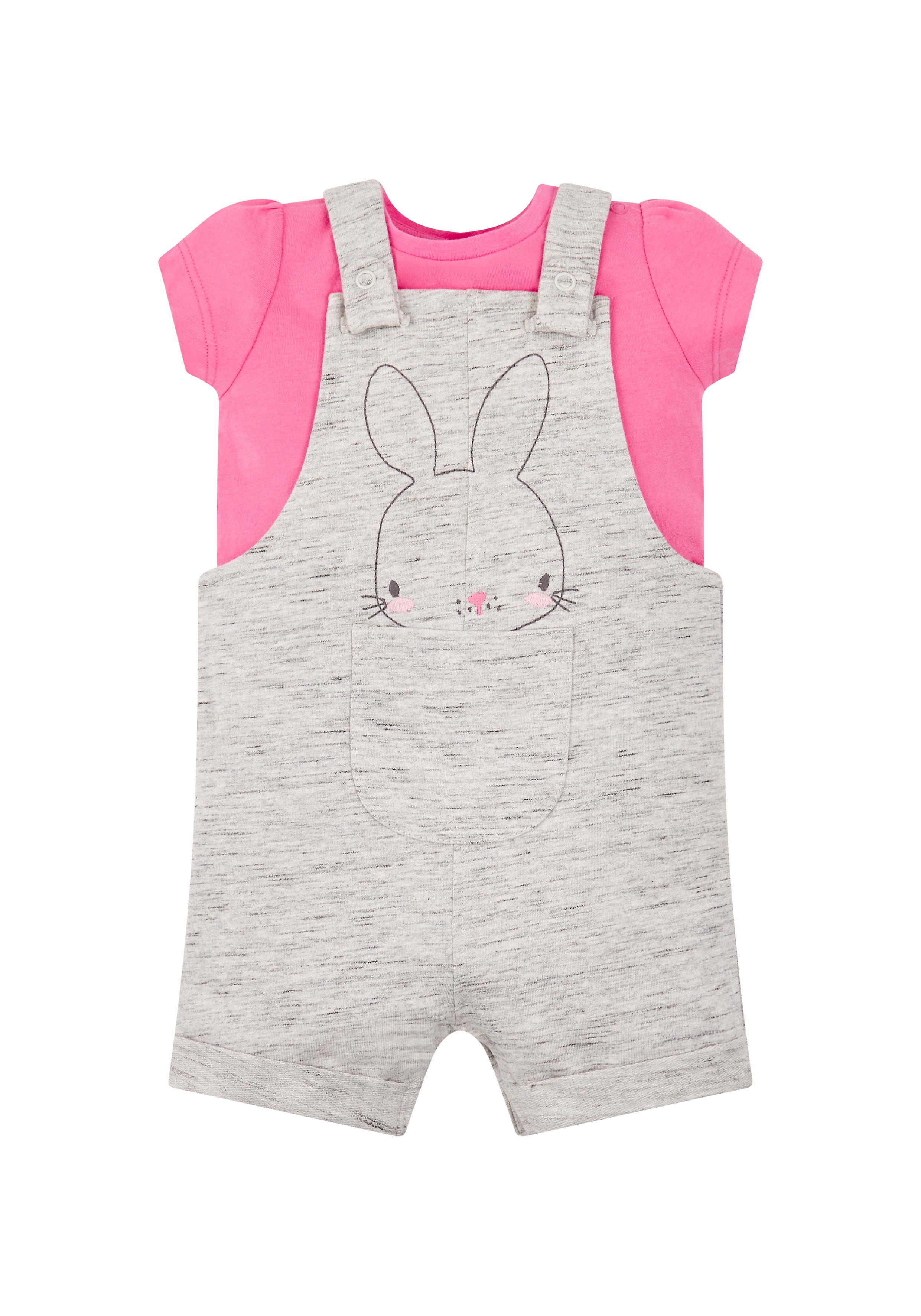 Mothercare   Girls Half Sleeves Dungaree Set Bunny Embroidery - Grey