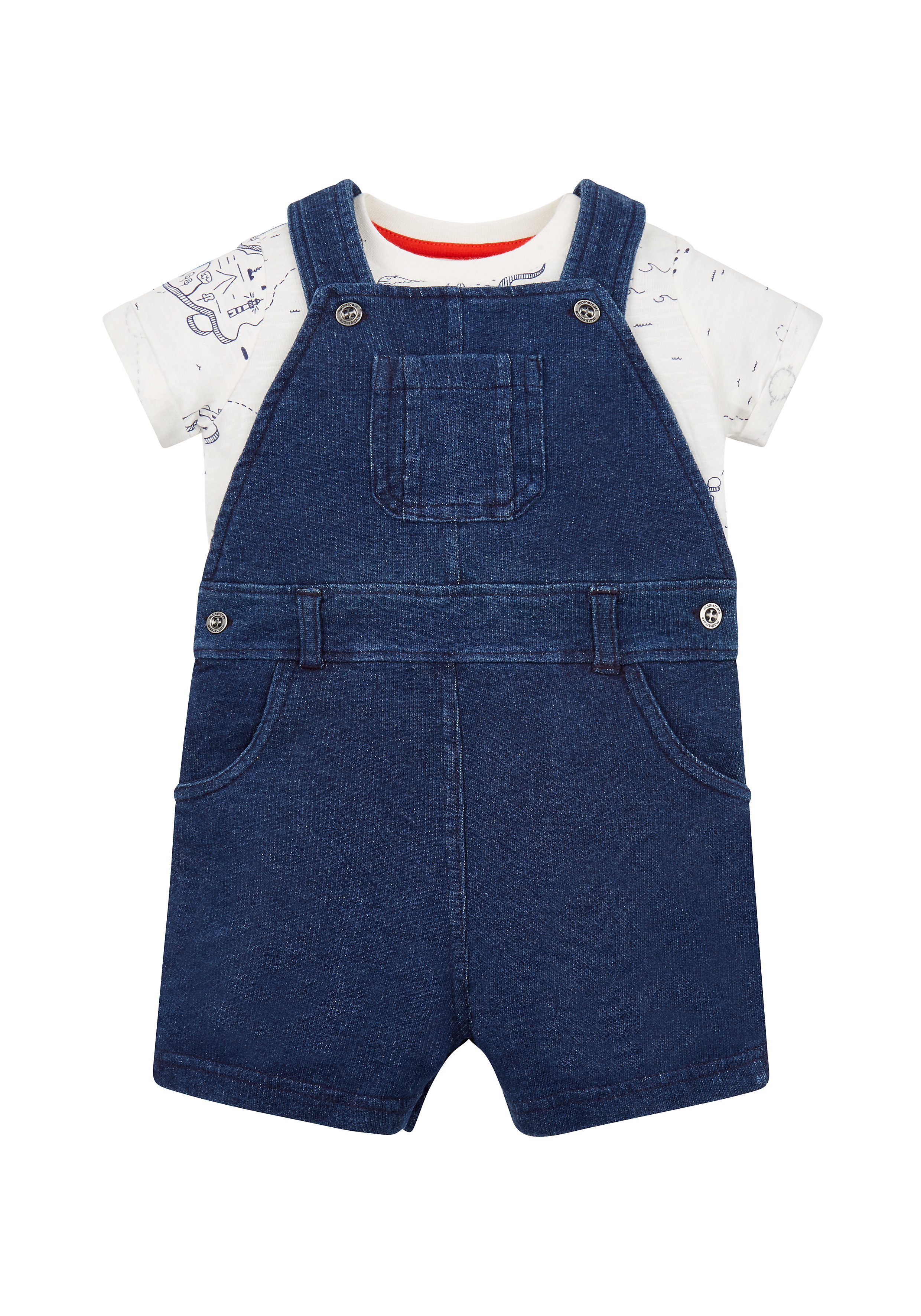 Mothercare | Boys Half Sleeves Dungaree Set Printed - Blue