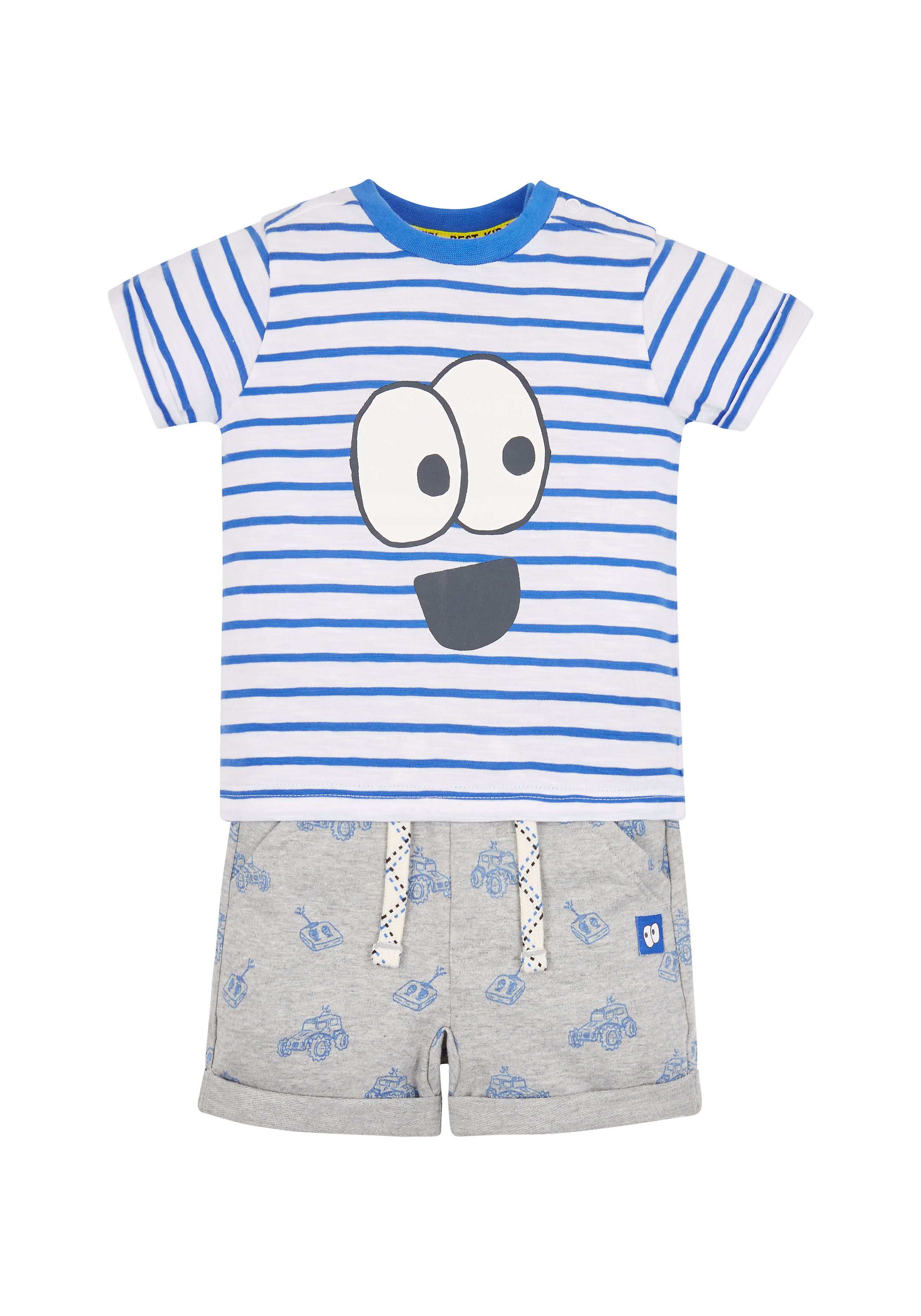 Mothercare | Boys Half Sleeves T-Shirt And Shorts Set Striped - Grey