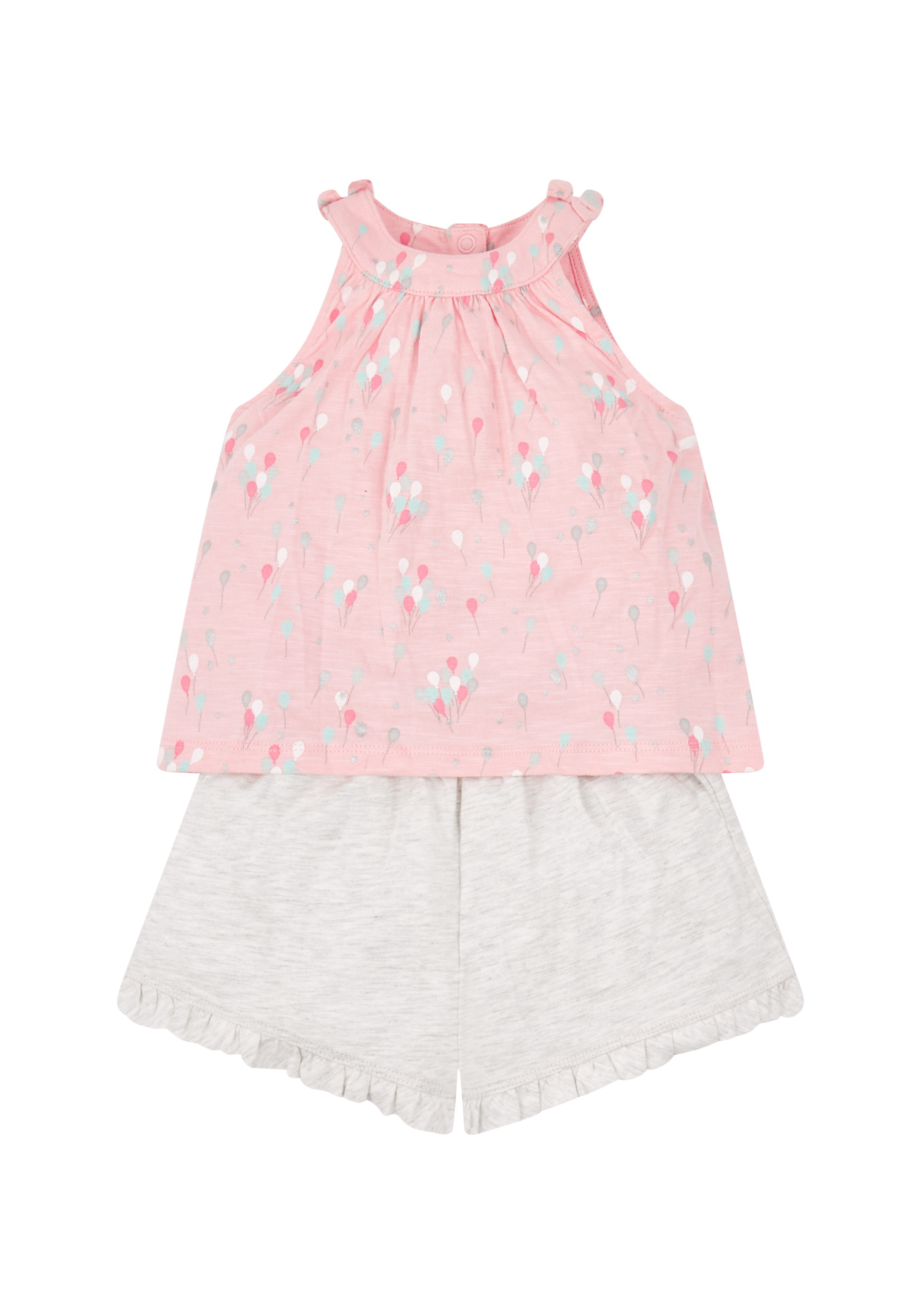 Mothercare   Girls Sleeveless Top And Shorts Set Balloon Print - Pink