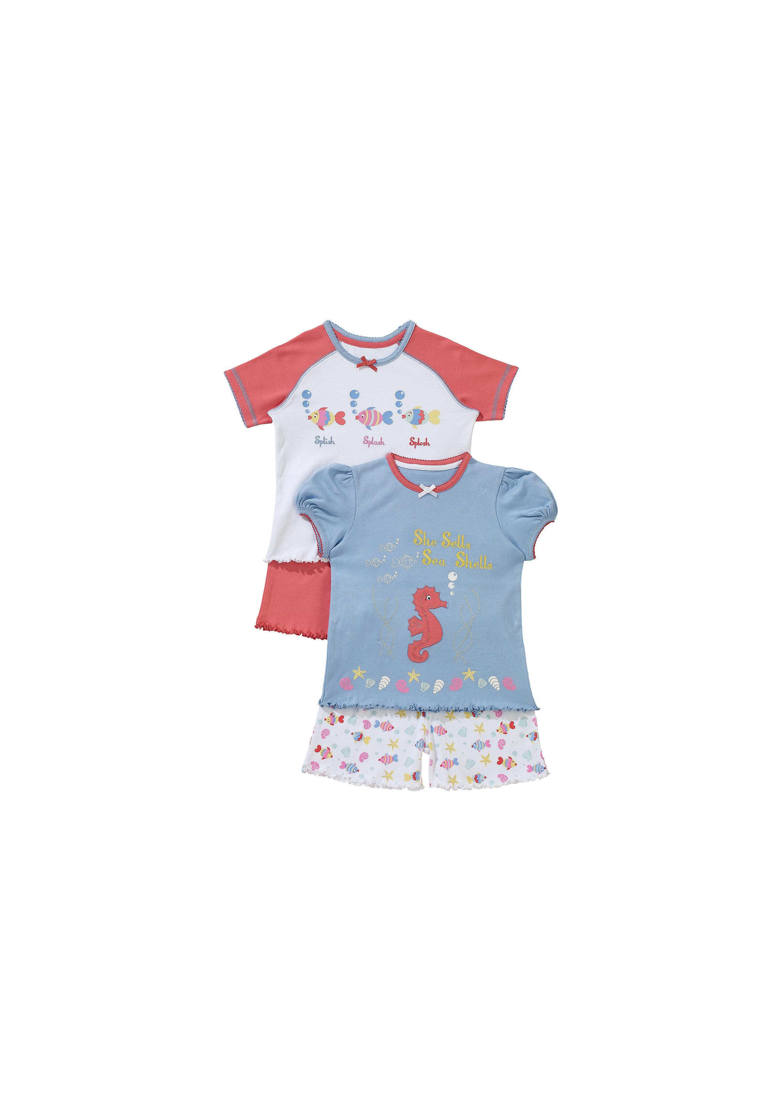 Mothercare | Girls Half Sleeves Shortie Pyjama Set Fish Print - Pack Of 2 - Multicolor