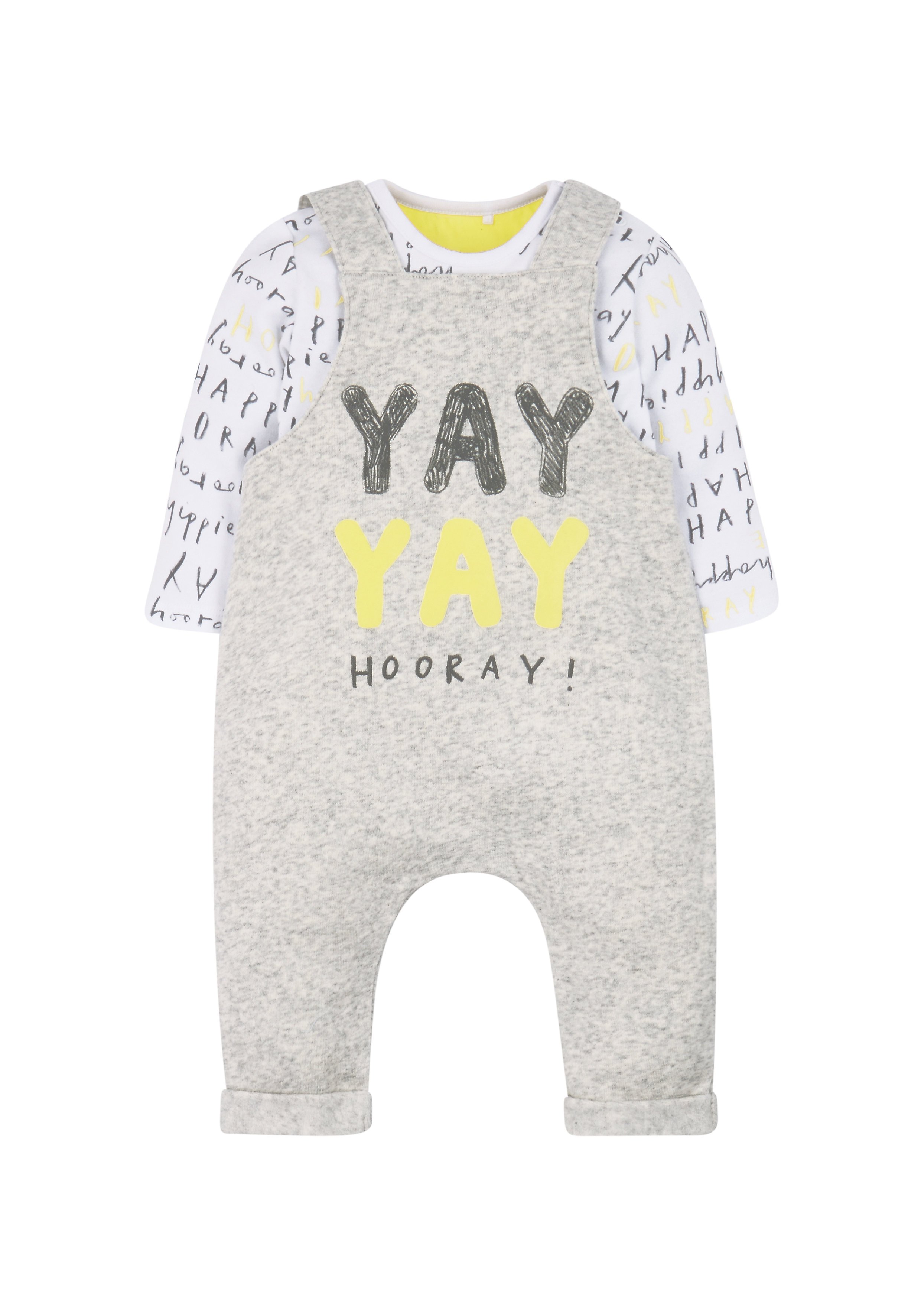 Mothercare | Unisex Full Sleeves Dungaree Set Text Print - Grey