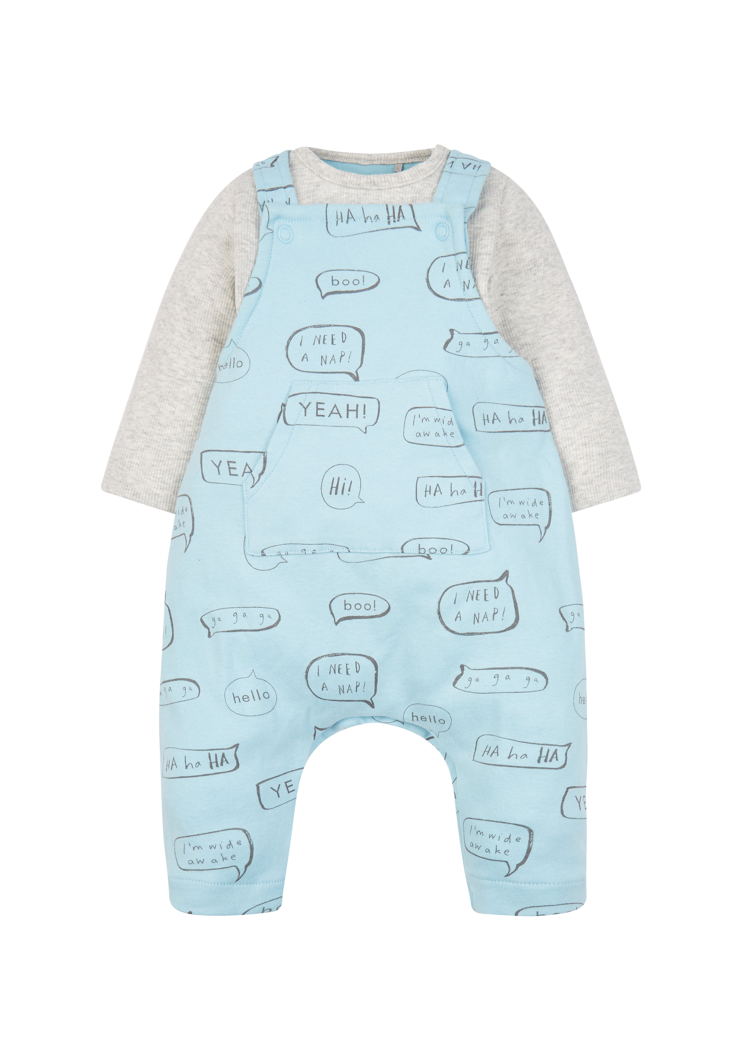 Mothercare | Boys Full Sleeves Dungaree Set Printed - Blue