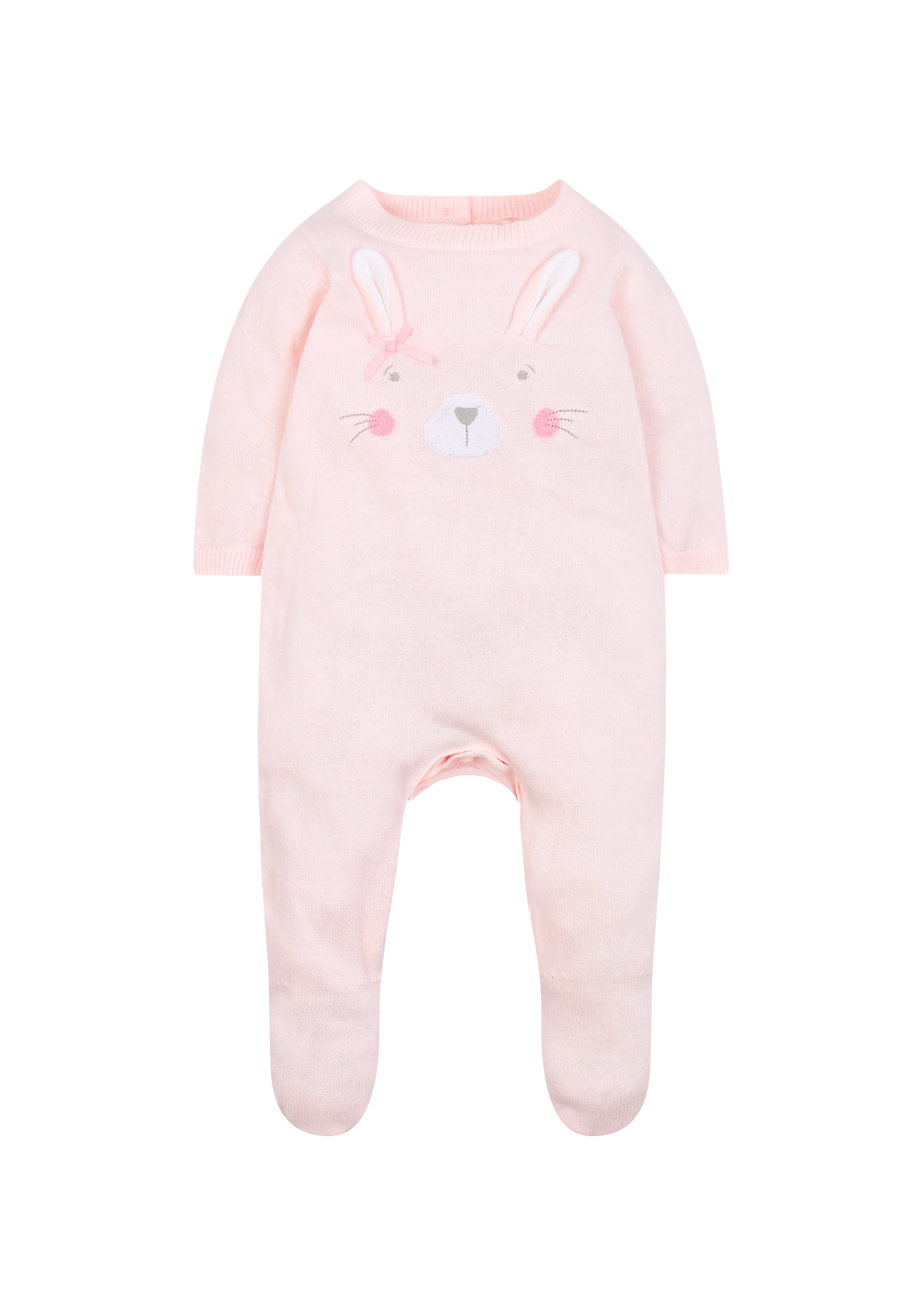 Mothercare | Girls Full Sleeves Romper Bunny 3D Details - Pink