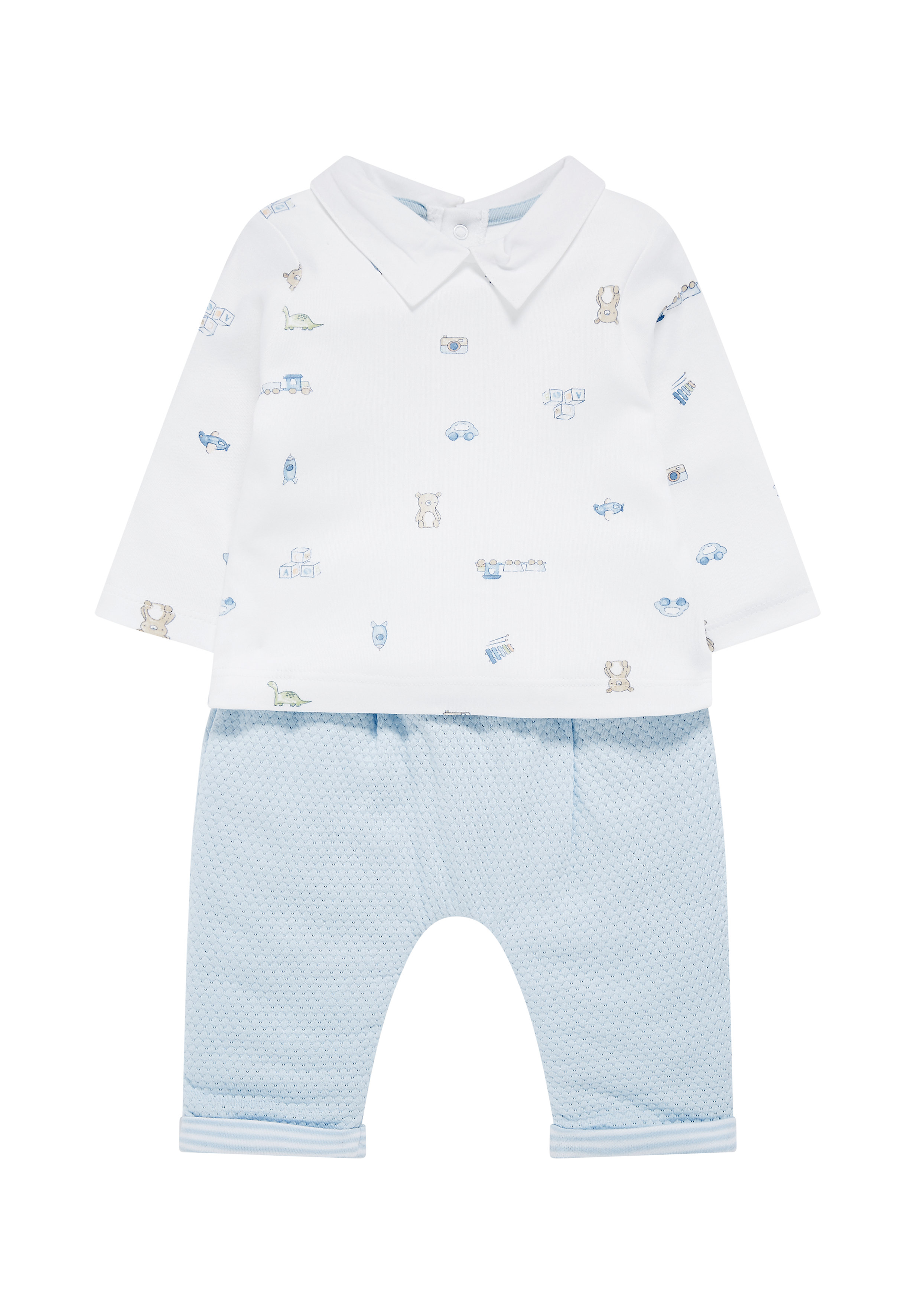 Mothercare | Boys Full Sleeves Top And Jogger Set Printed - Blue
