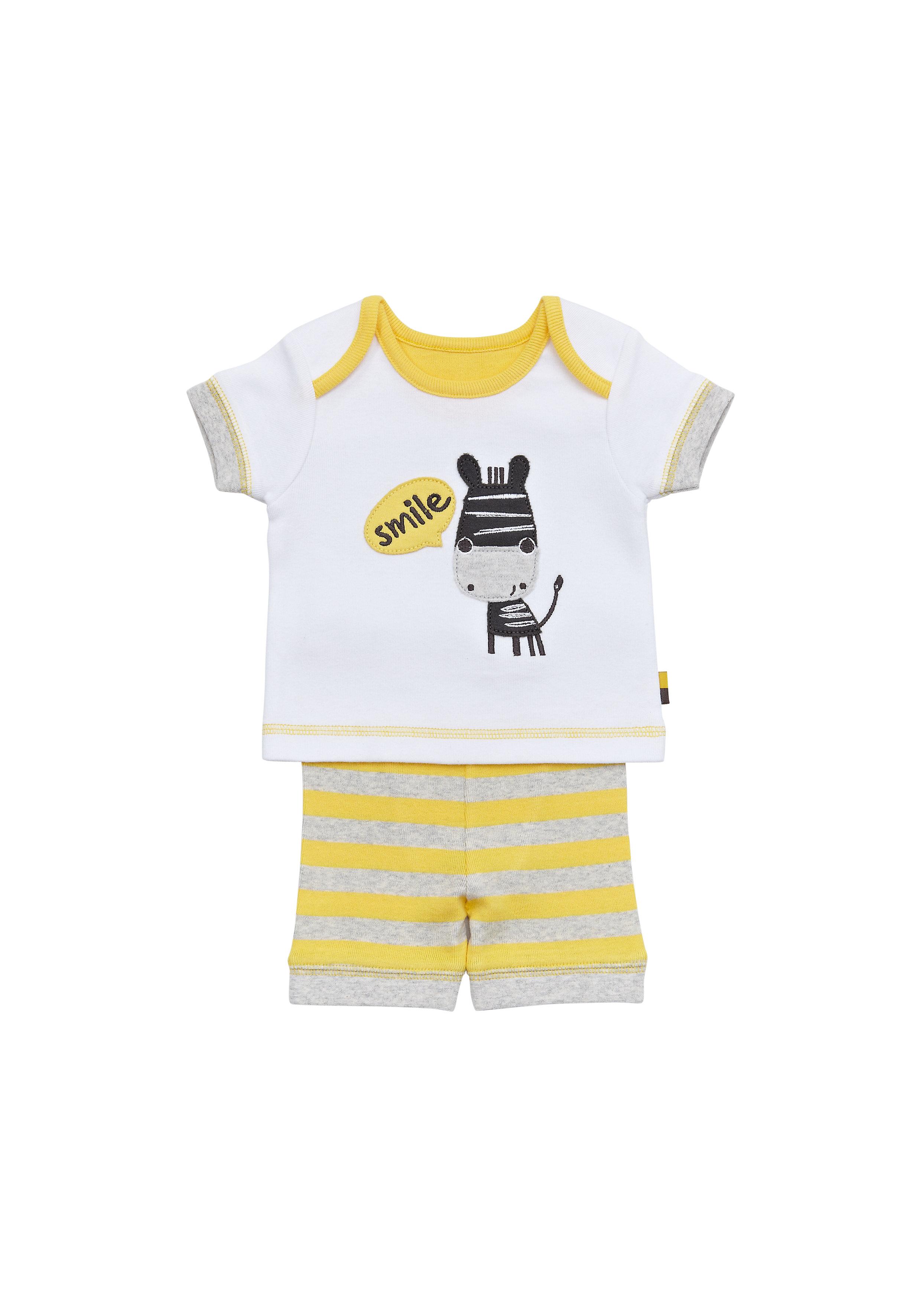 Mothercare | Unisex Half Sleeves Shortie Pyjama Set Zebra Patchwork - Yellow