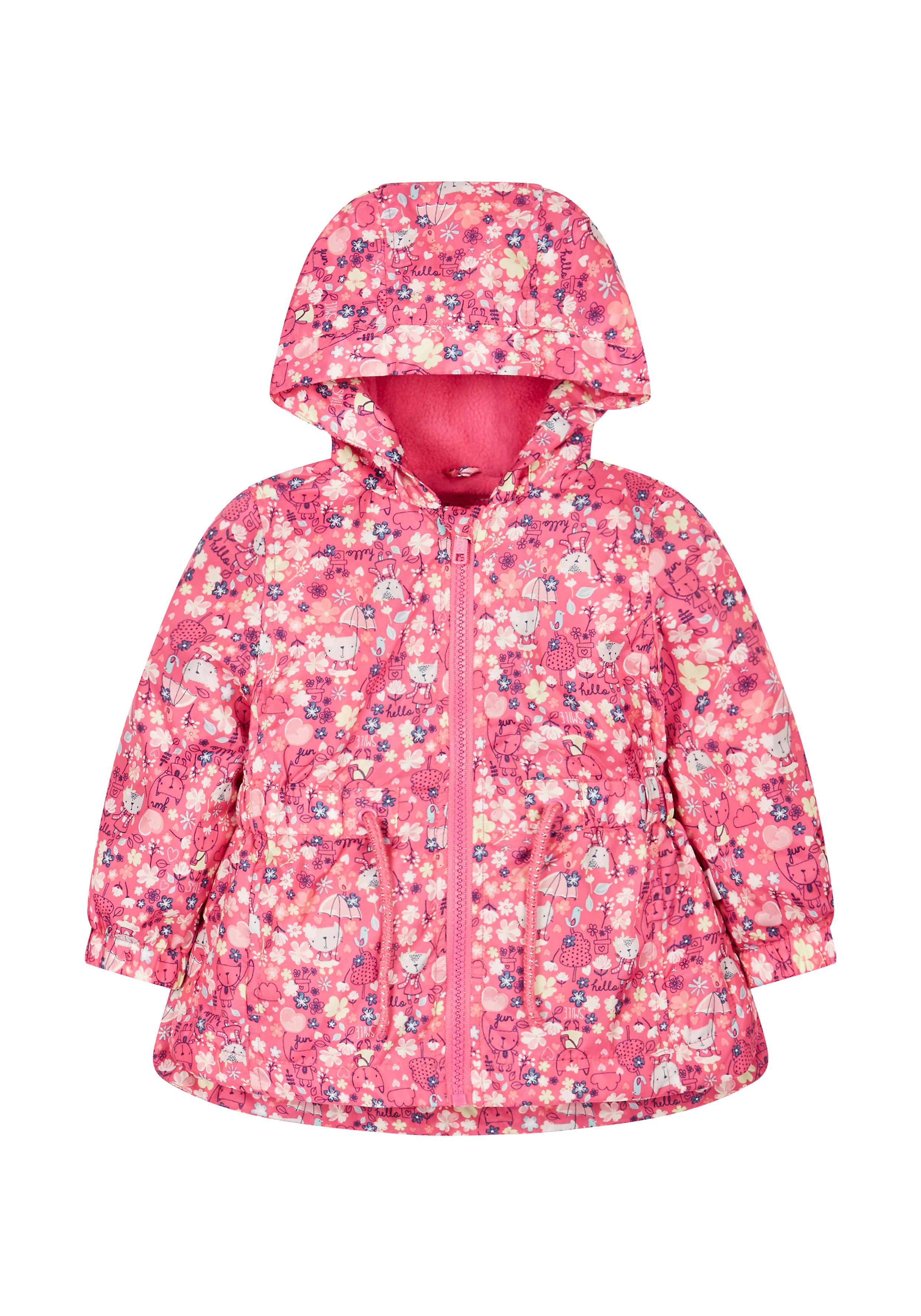 Mothercare | Girls Full Sleeves Jacket Cat Print - Pink