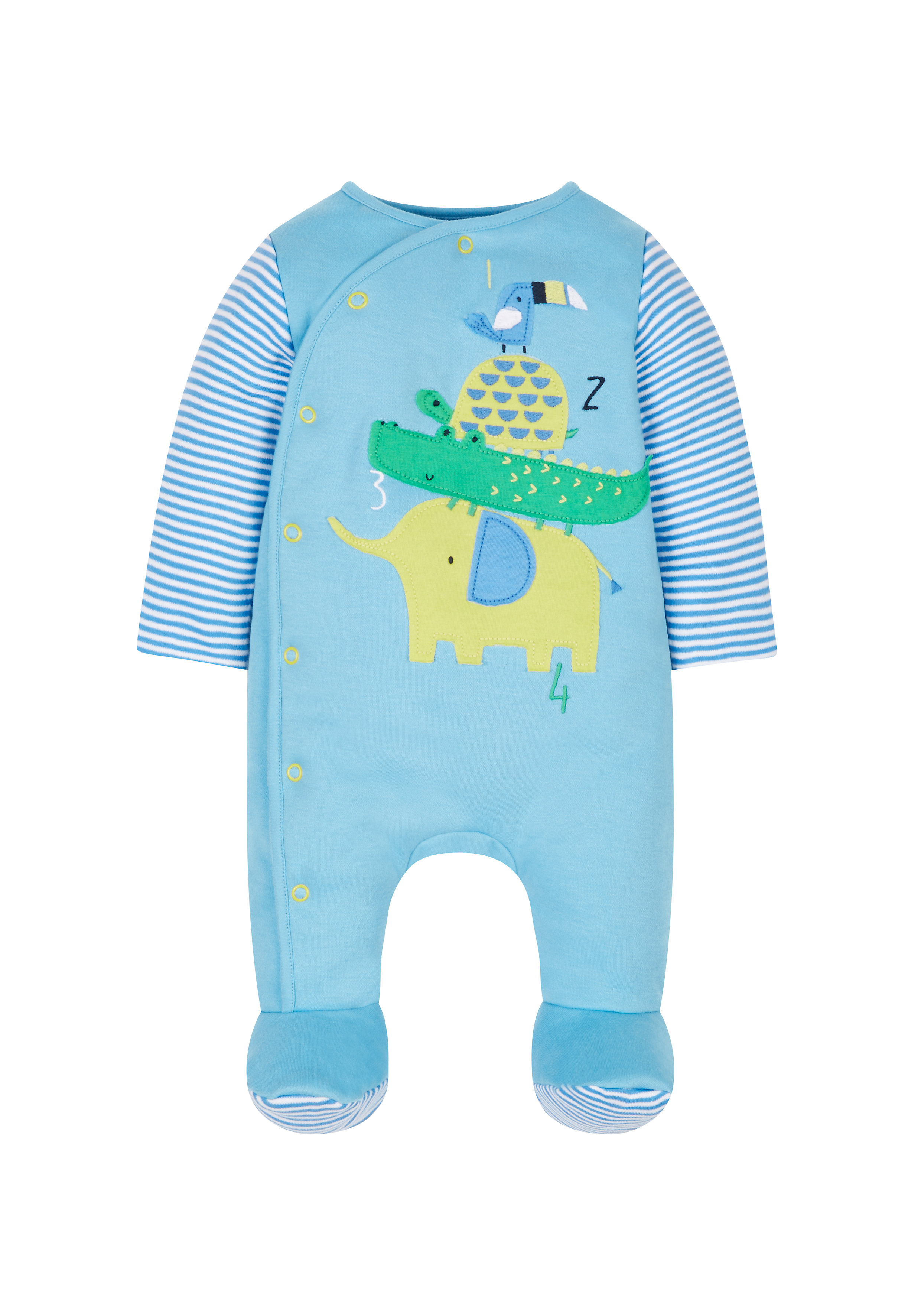 Mothercare | Boys Full Sleeves Snowsuit Animal Patchwork - Blue