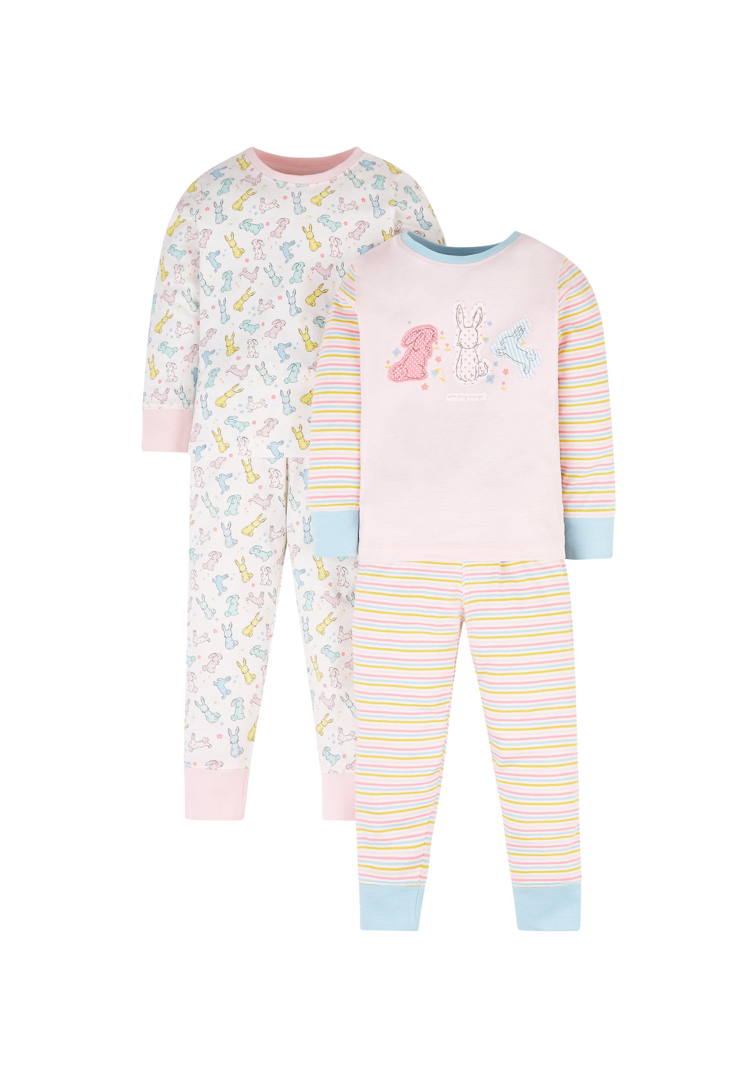 Mothercare   White and Peach Printed Sleepwear Pyjamas - Pack of 2