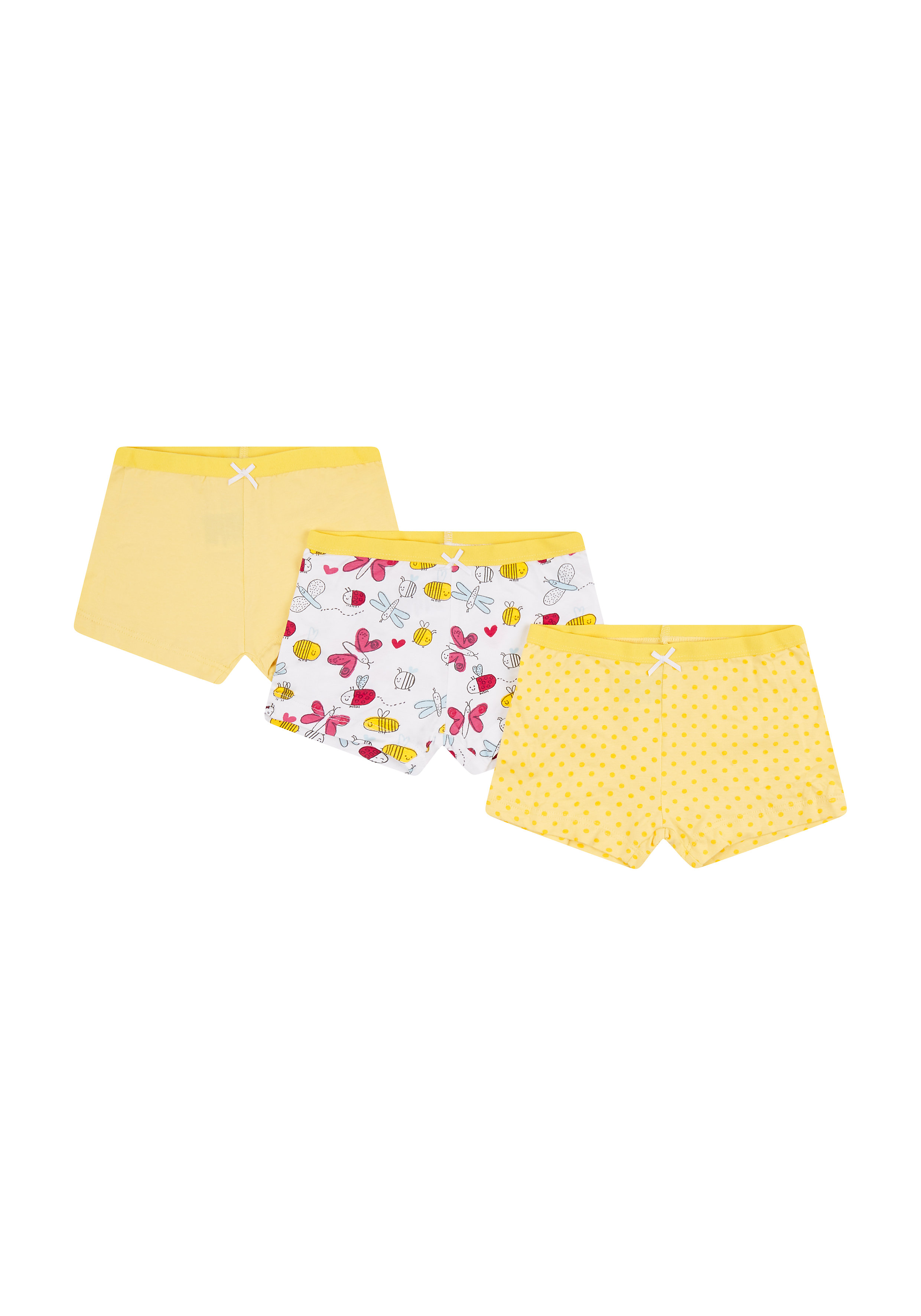 Mothercare | Girls Bee Shorts - 3 Pack - Yellow