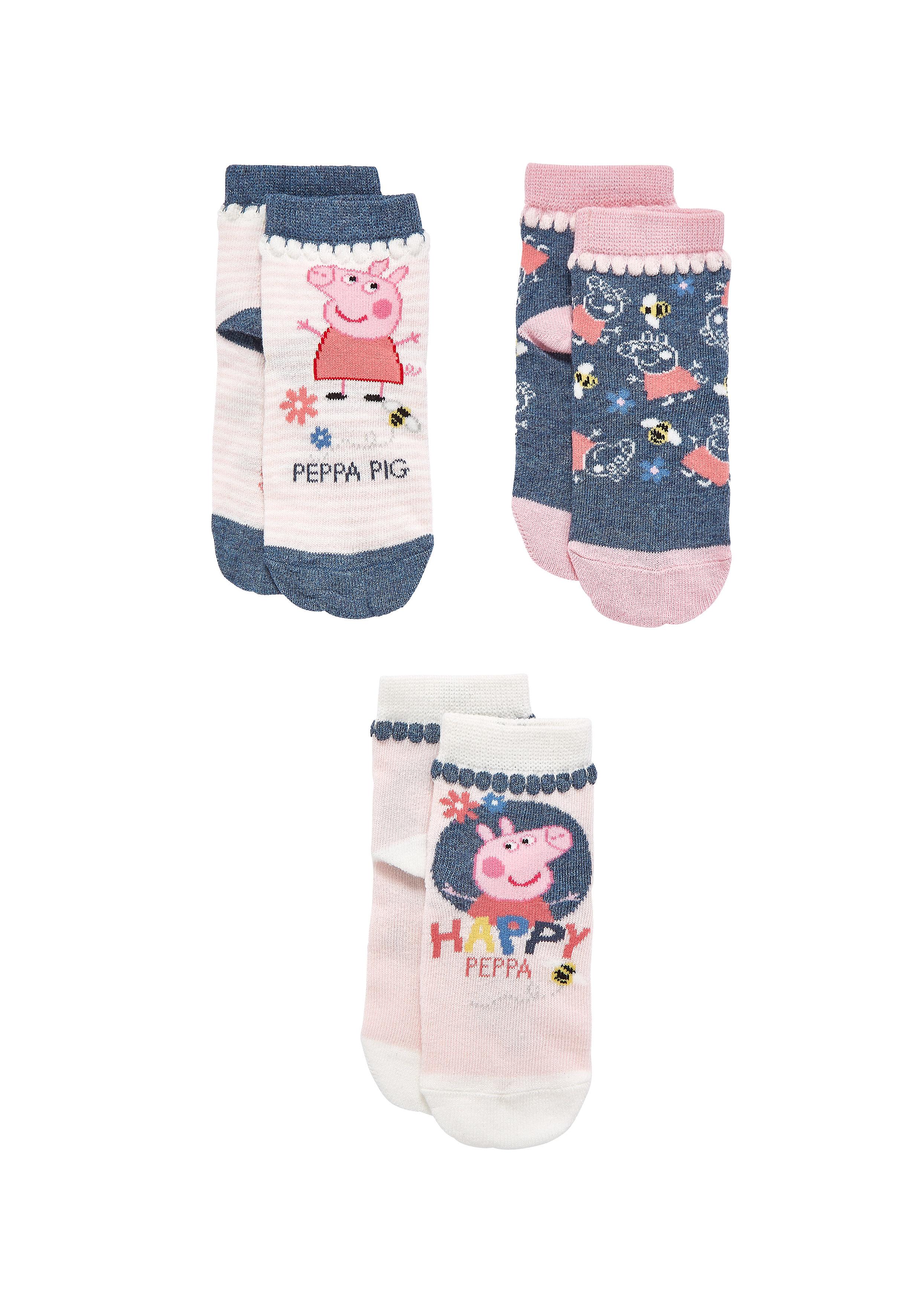 Mothercare | Girls Socks Peppa Pig Design - Pack Of 3 - Pink