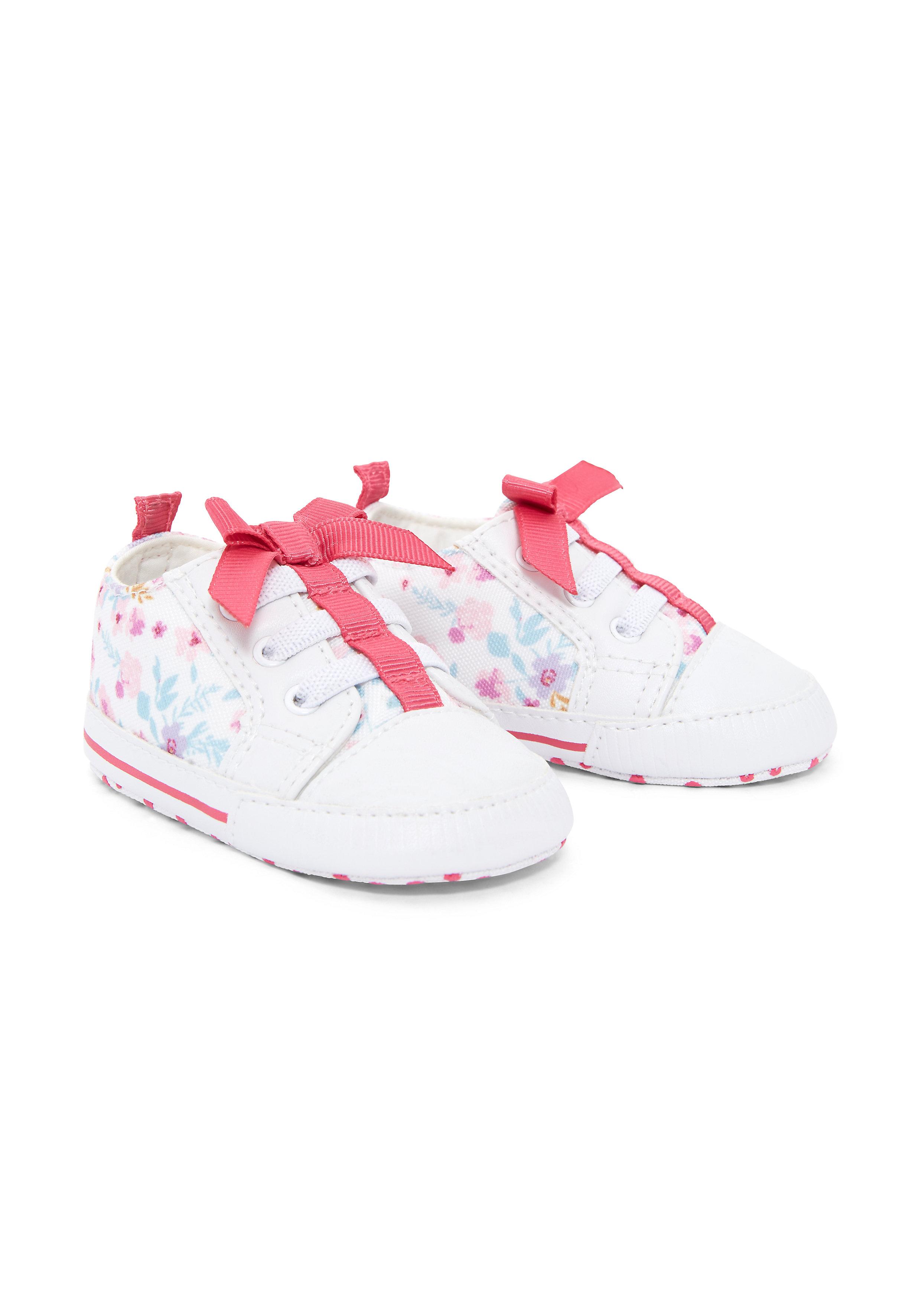 Mothercare | Girls Pram Shoes Bow Detail - White