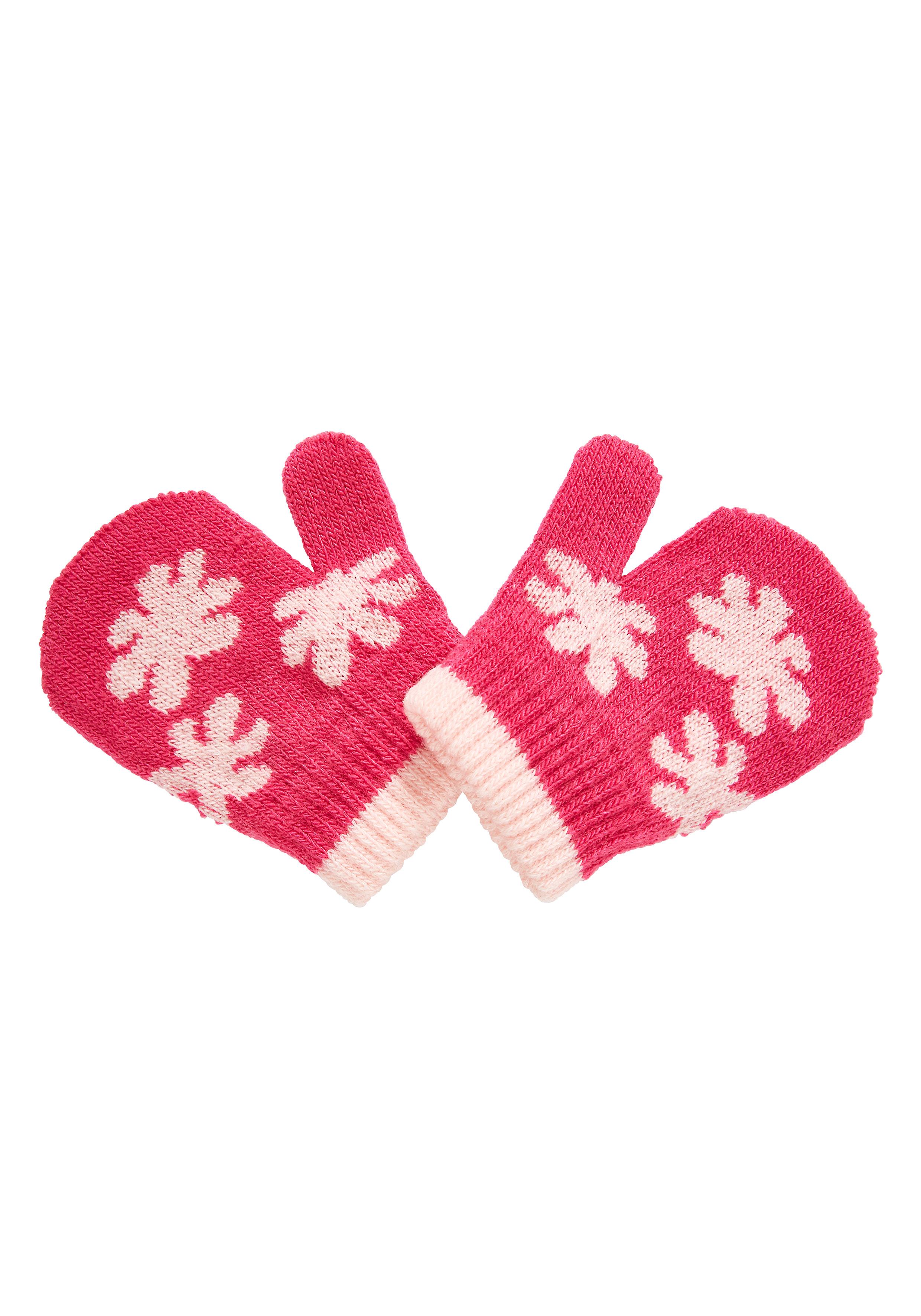 Mothercare | Girls Mittens Flower Design - Pink