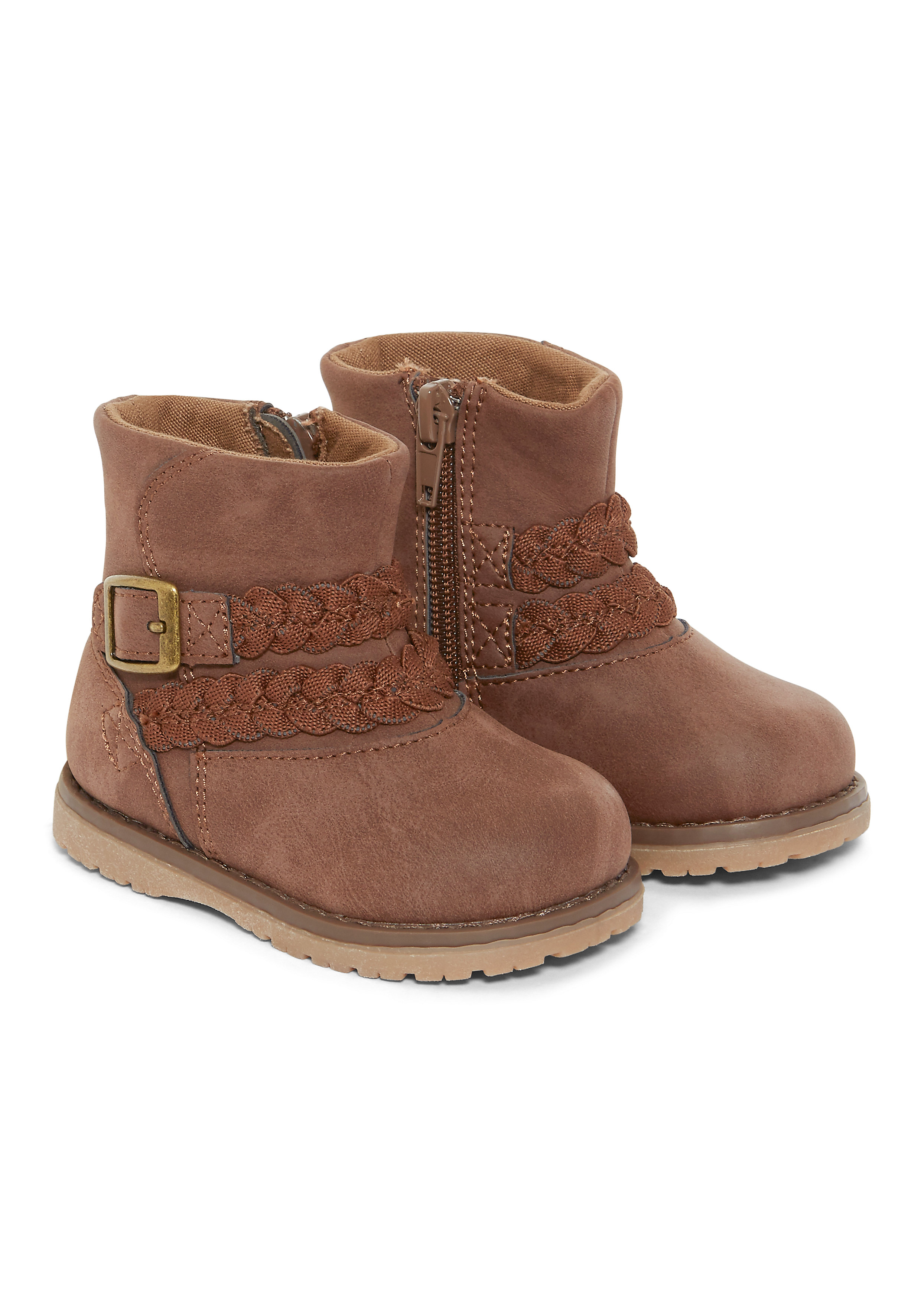 Mothercare | Girls Boots Plaited Design - Brown