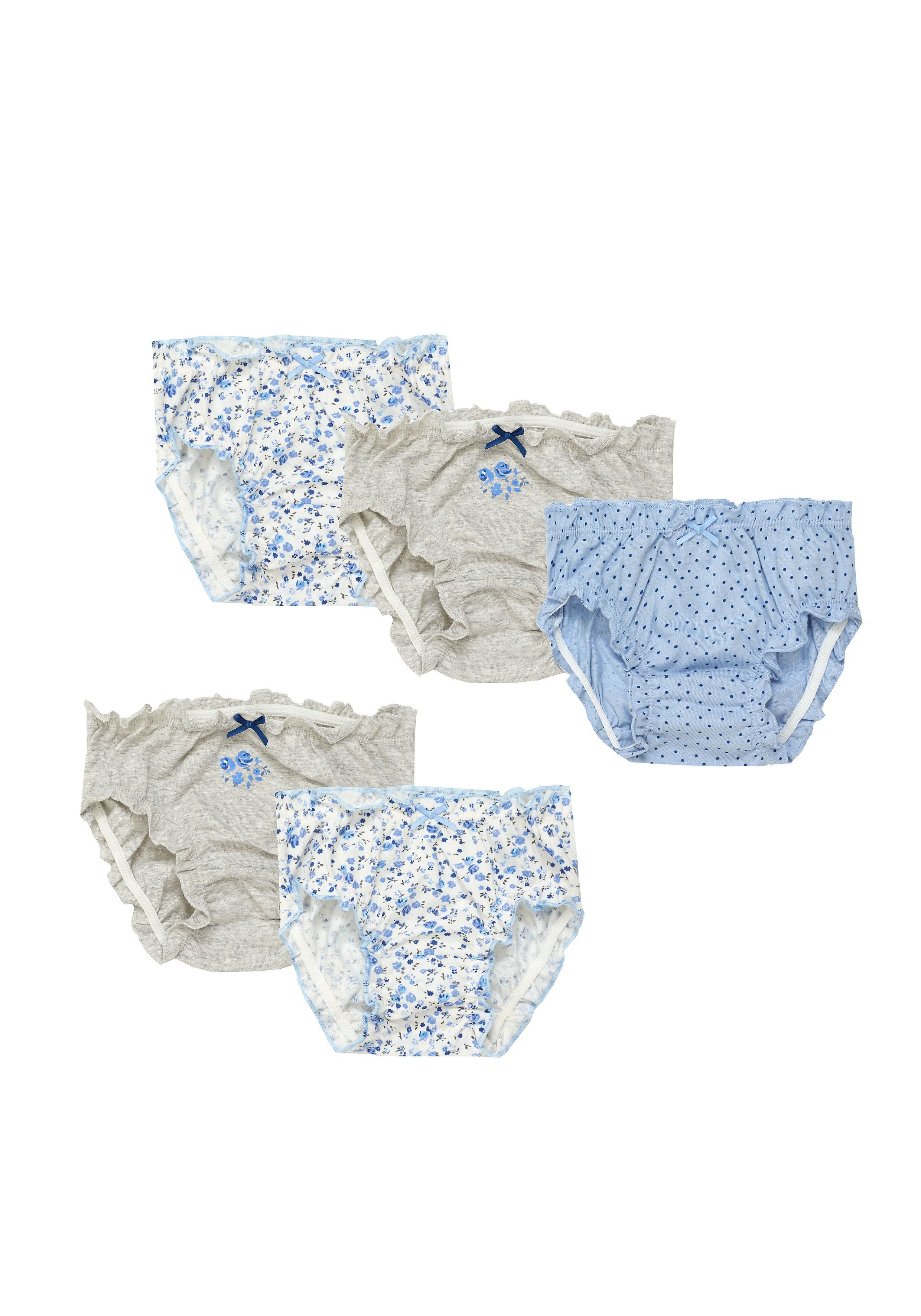 Mothercare   Girls Blue Floral Briefs - 5 Pack - Blue