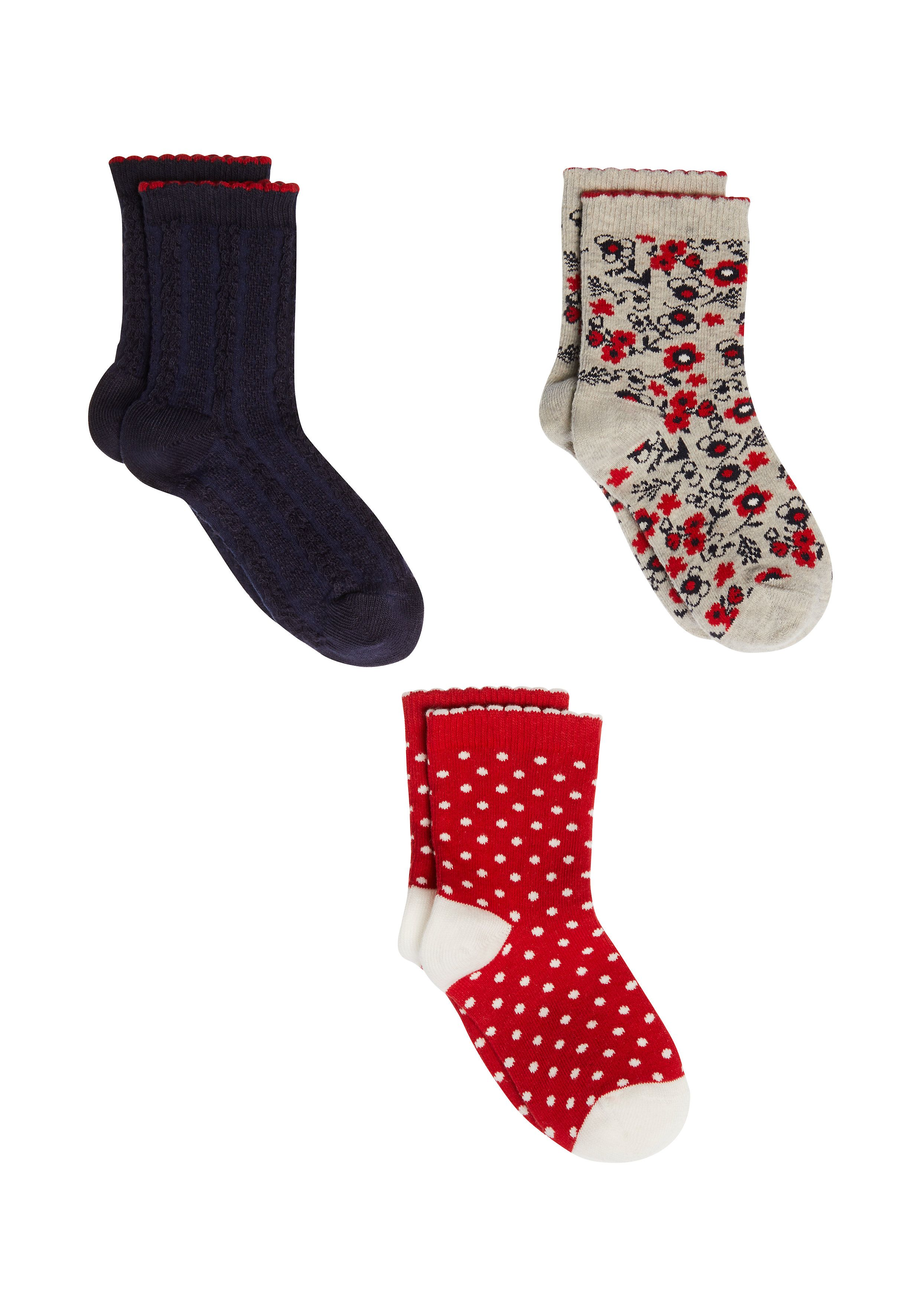 Mothercare | Girls Red, Navy And Grey Socks - 3 Pack - Multicolor