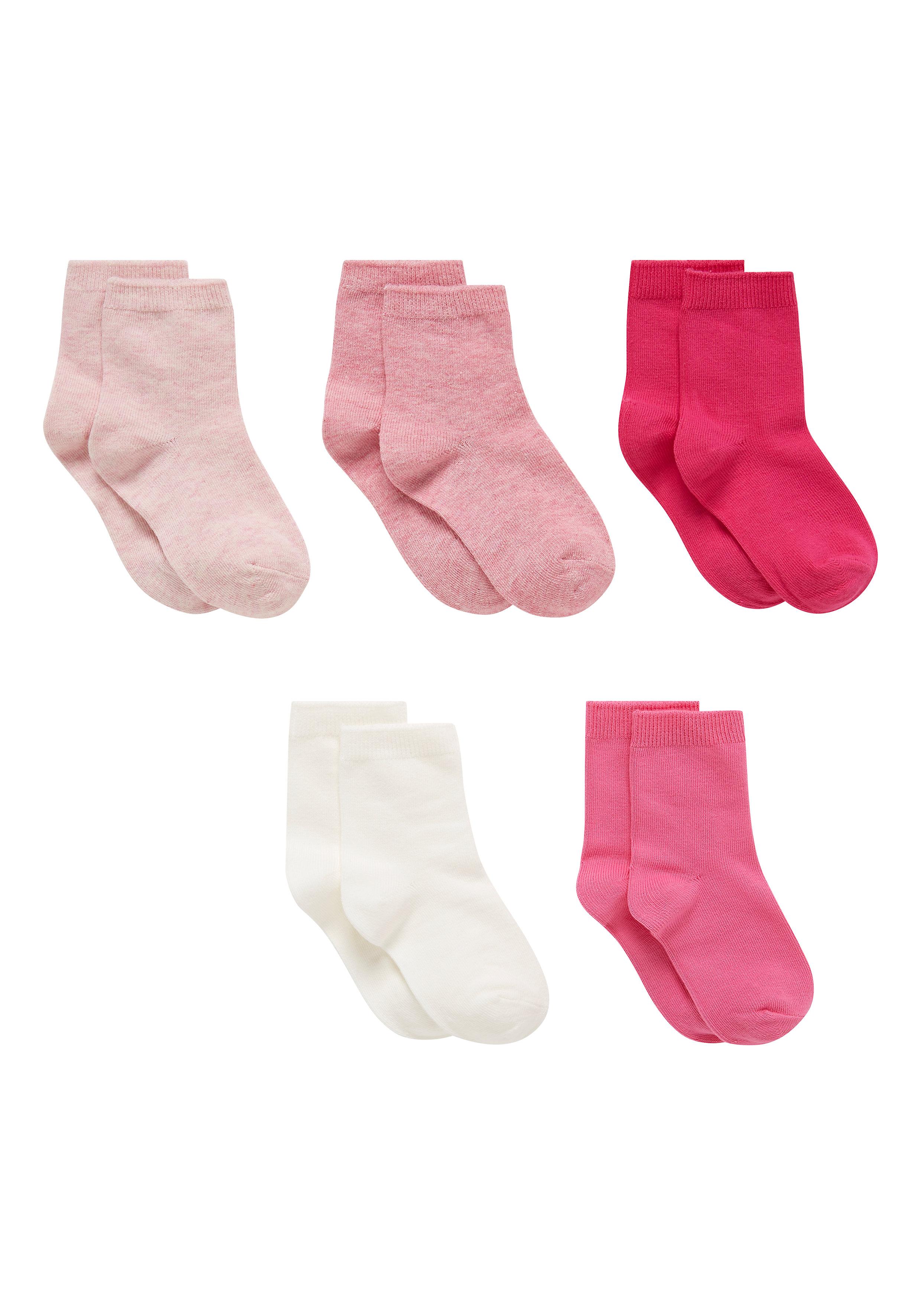 Mothercare | Girls Pink Pelerine Socks - 5 Pack - Pink