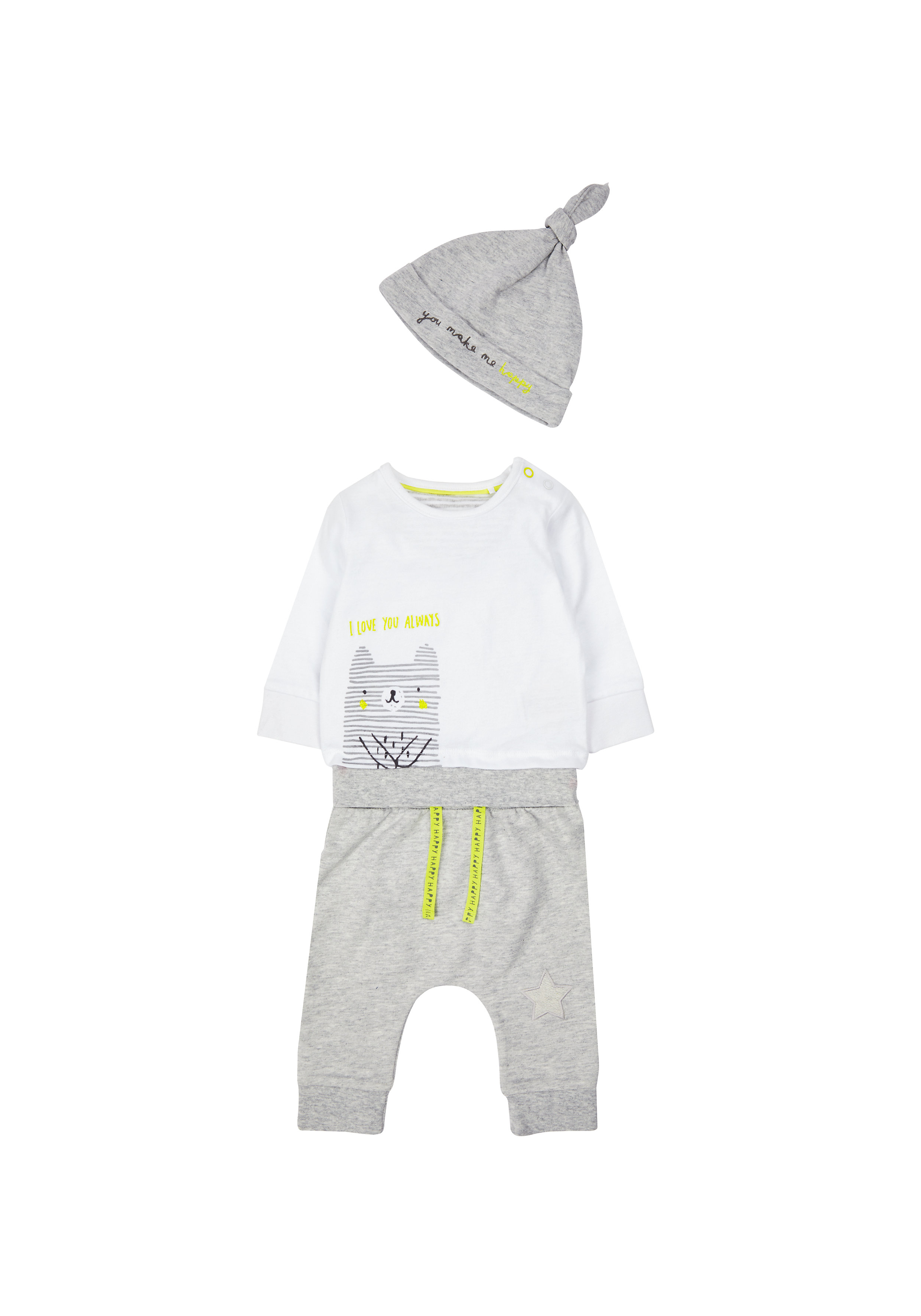 Mothercare | Unisex Grey Bear Bodysuit, Jogger And Hat Set - Grey