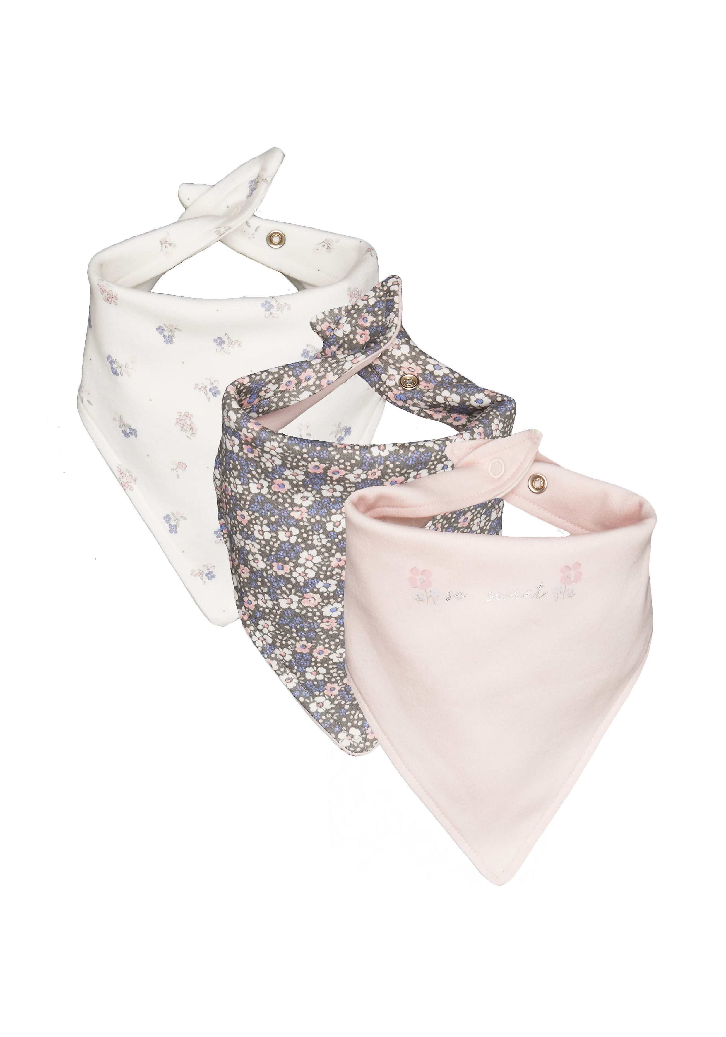 Mothercare | White, Grey and Pink Printed Bib - Pack of 3