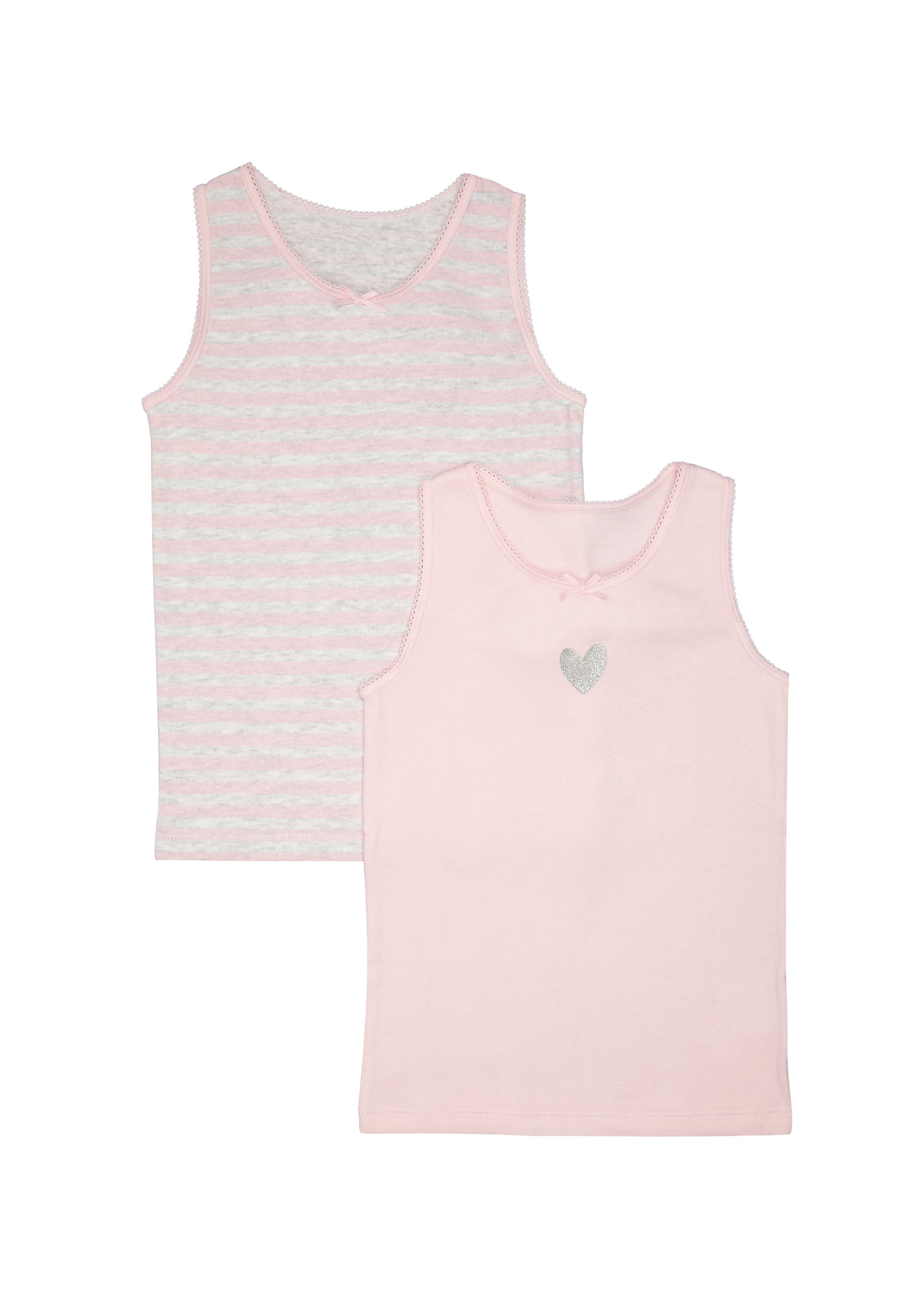 Mothercare | Girls Heart And Stripe Vests - 2 Pack - Pink